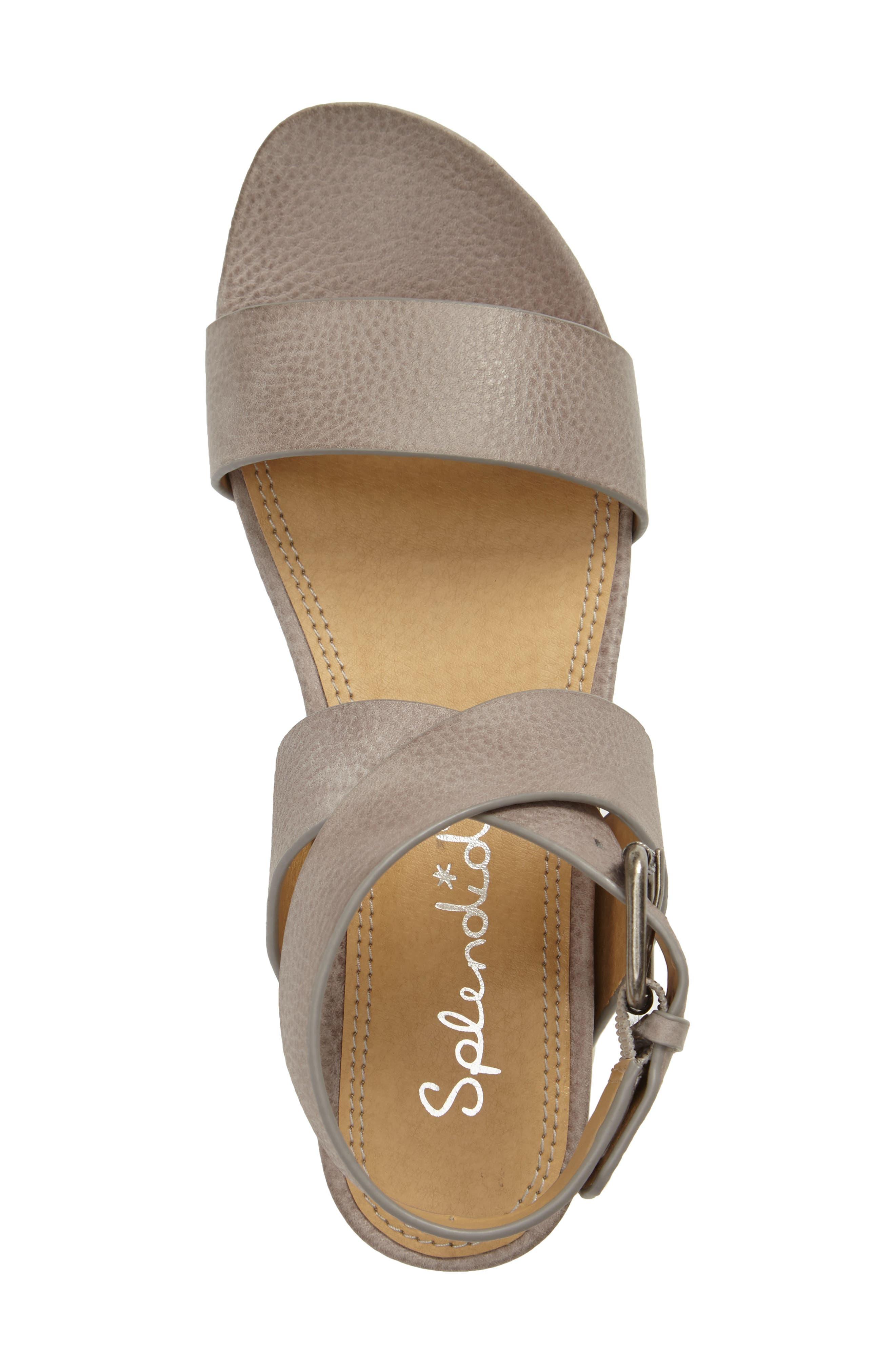Julie Platform Sandal,                             Alternate thumbnail 3, color,                             Light Grey Leather