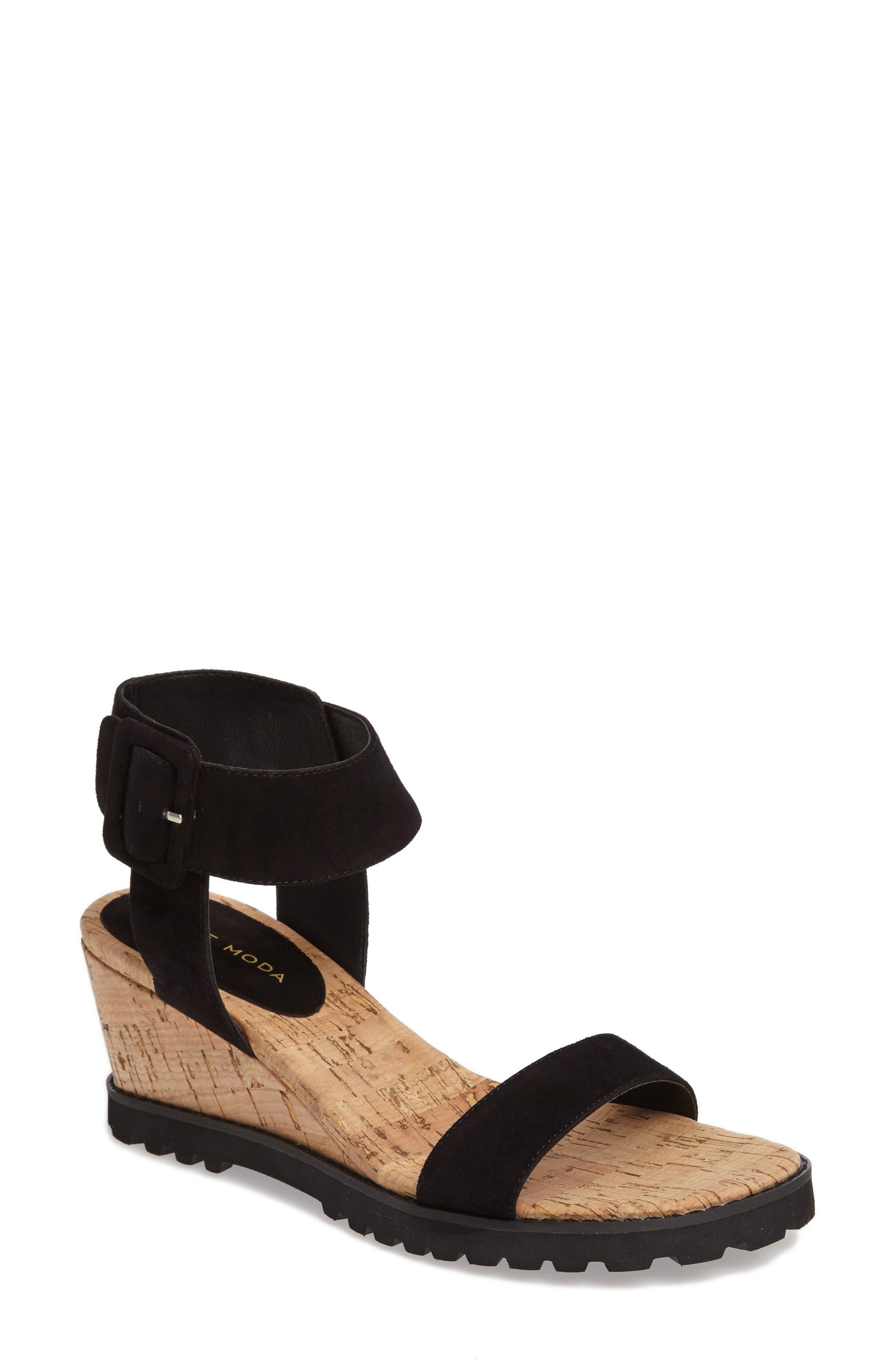 Rian Wedge Sandal,                         Main,                         color, Black Leather