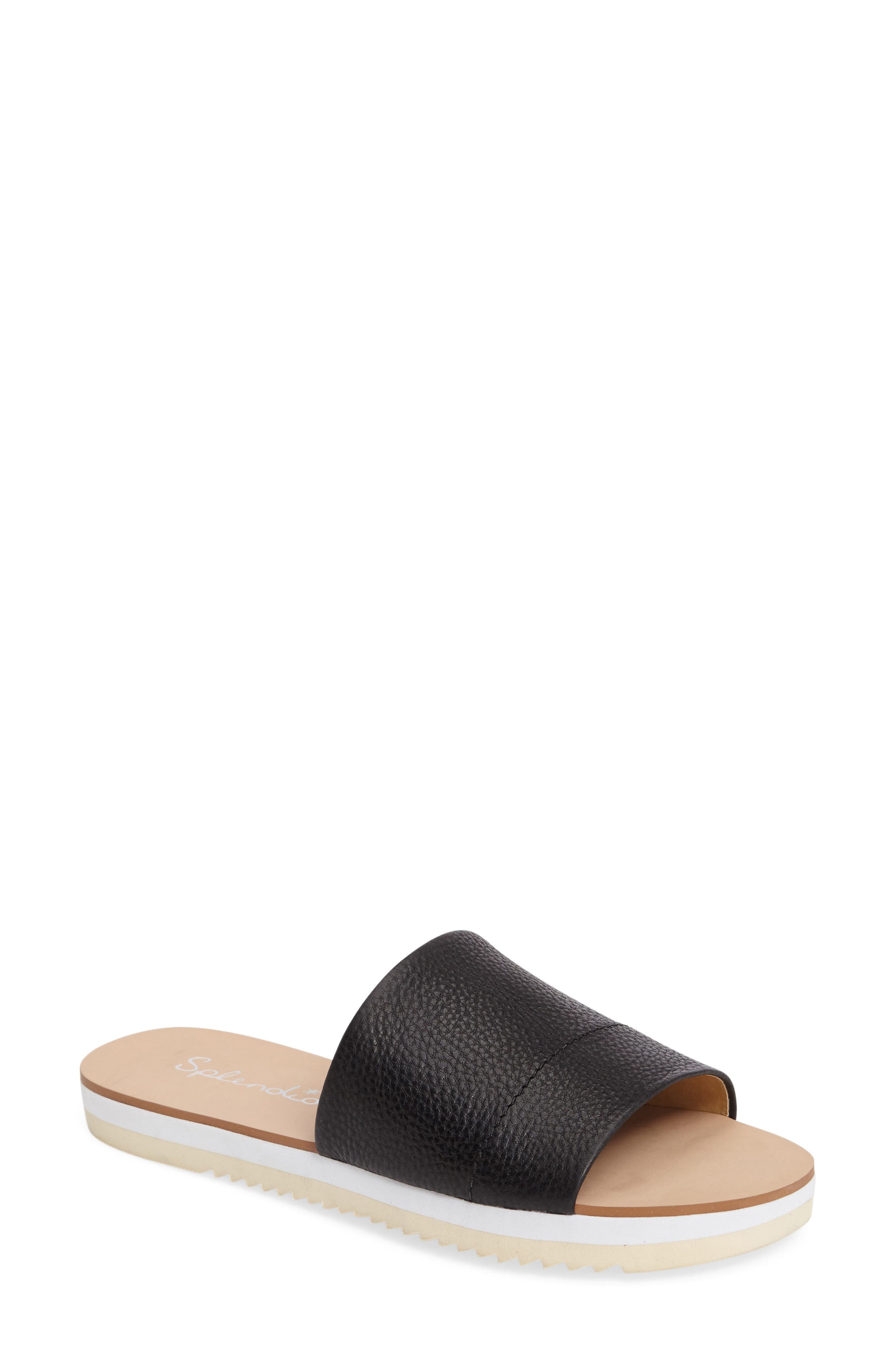 Jazz Slide Sandal,                             Main thumbnail 1, color,                             Black Leather
