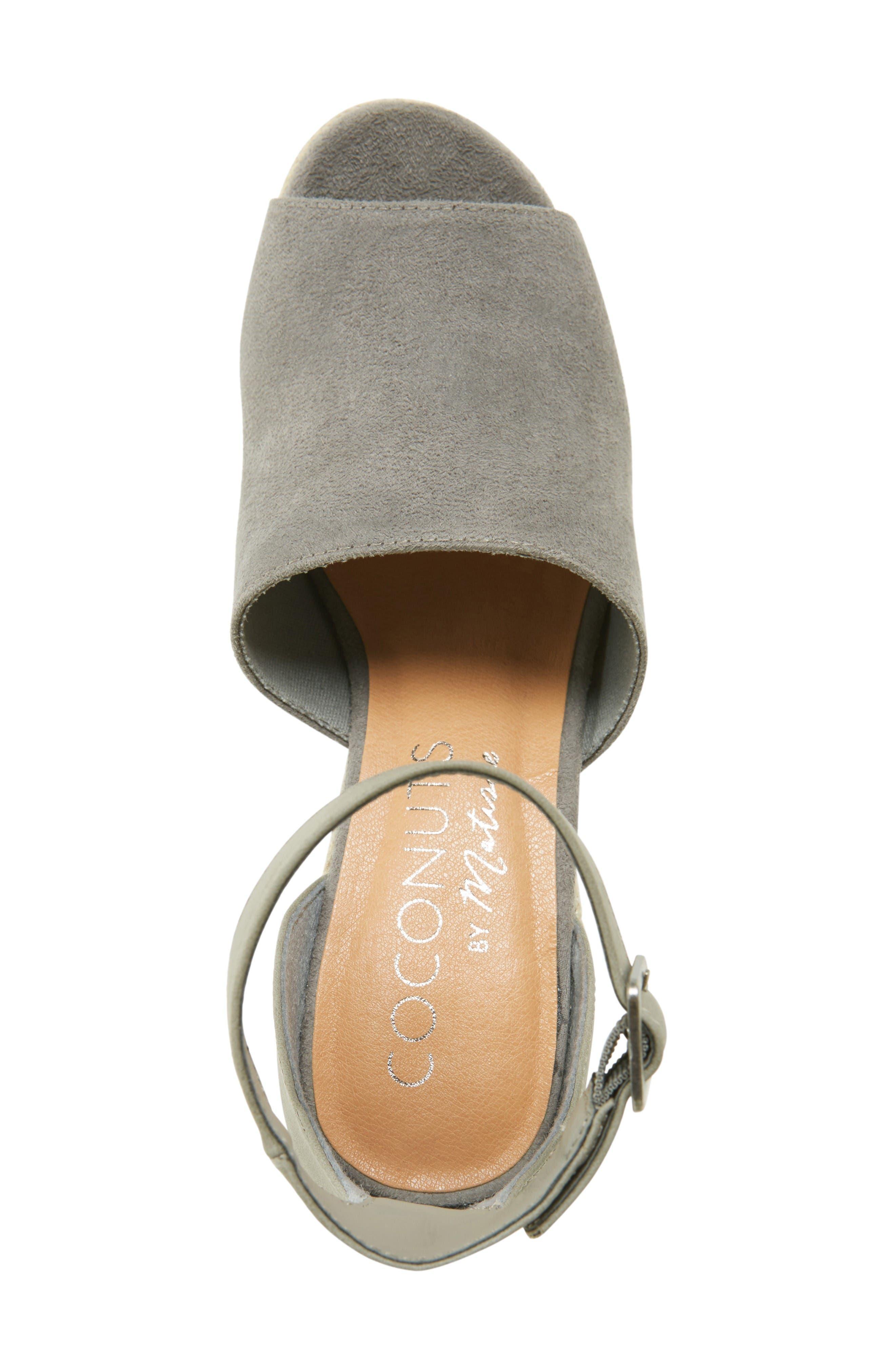 Flamingo Wedge Sandal,                             Alternate thumbnail 3, color,                             Grey Leather