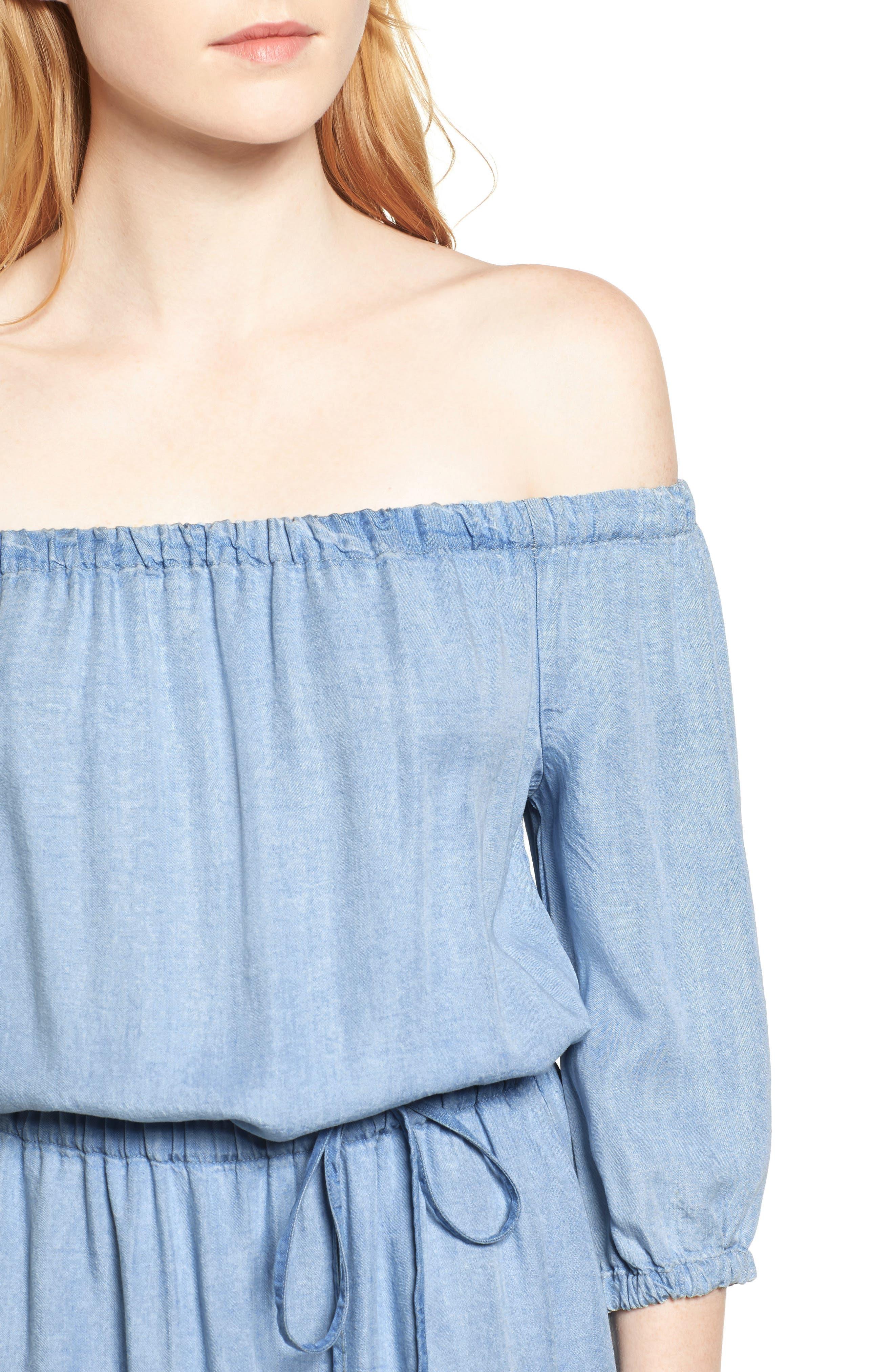 Alternate Image 4  - Splendid Off the Shoulder Blouson Dress
