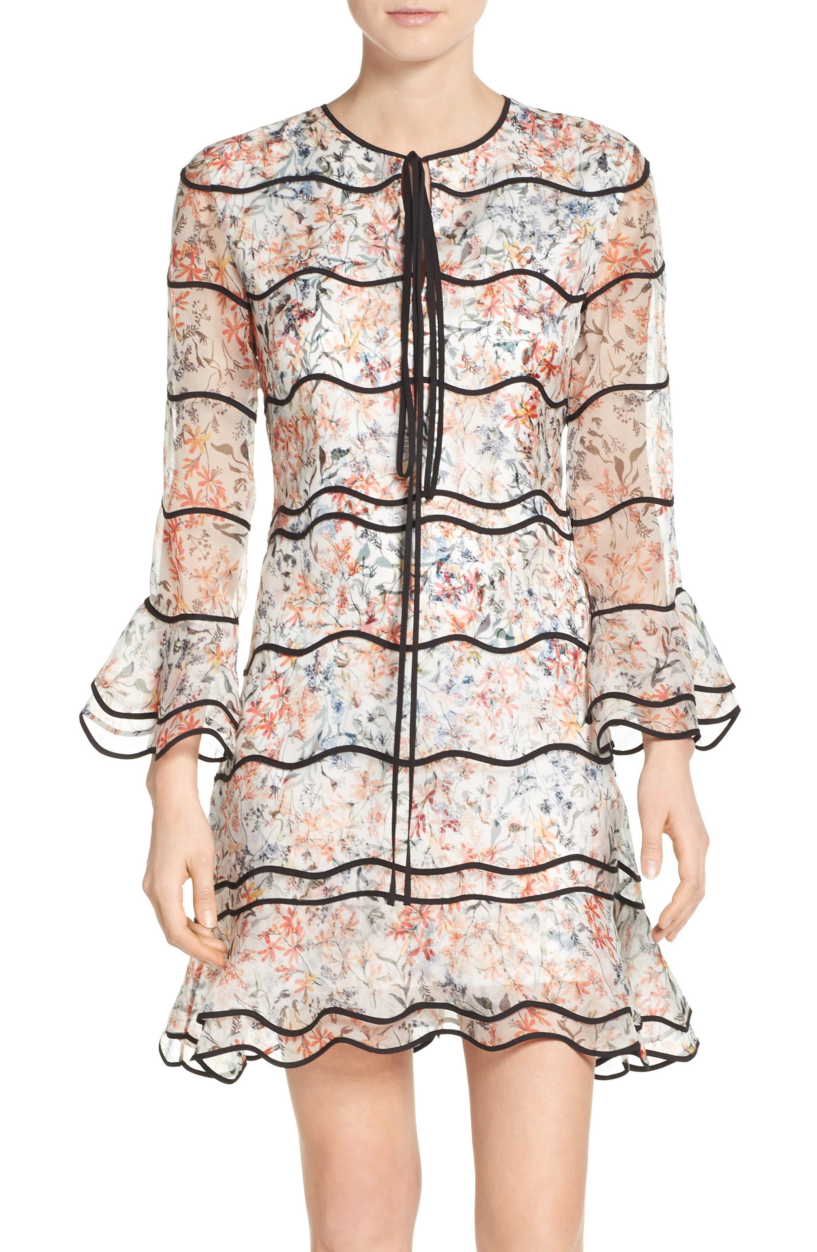 Svetlana Silk Trapeze Dress,                             Main thumbnail 1, color,                             Ivory