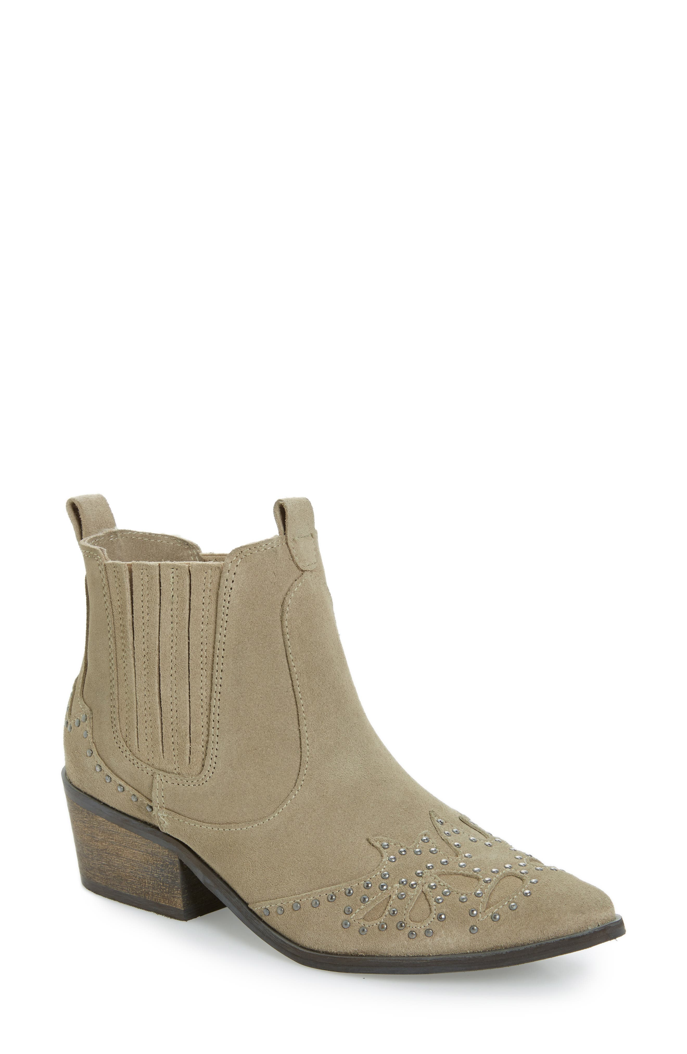 Backstage Bootie,                         Main,                         color, Taupe Leather