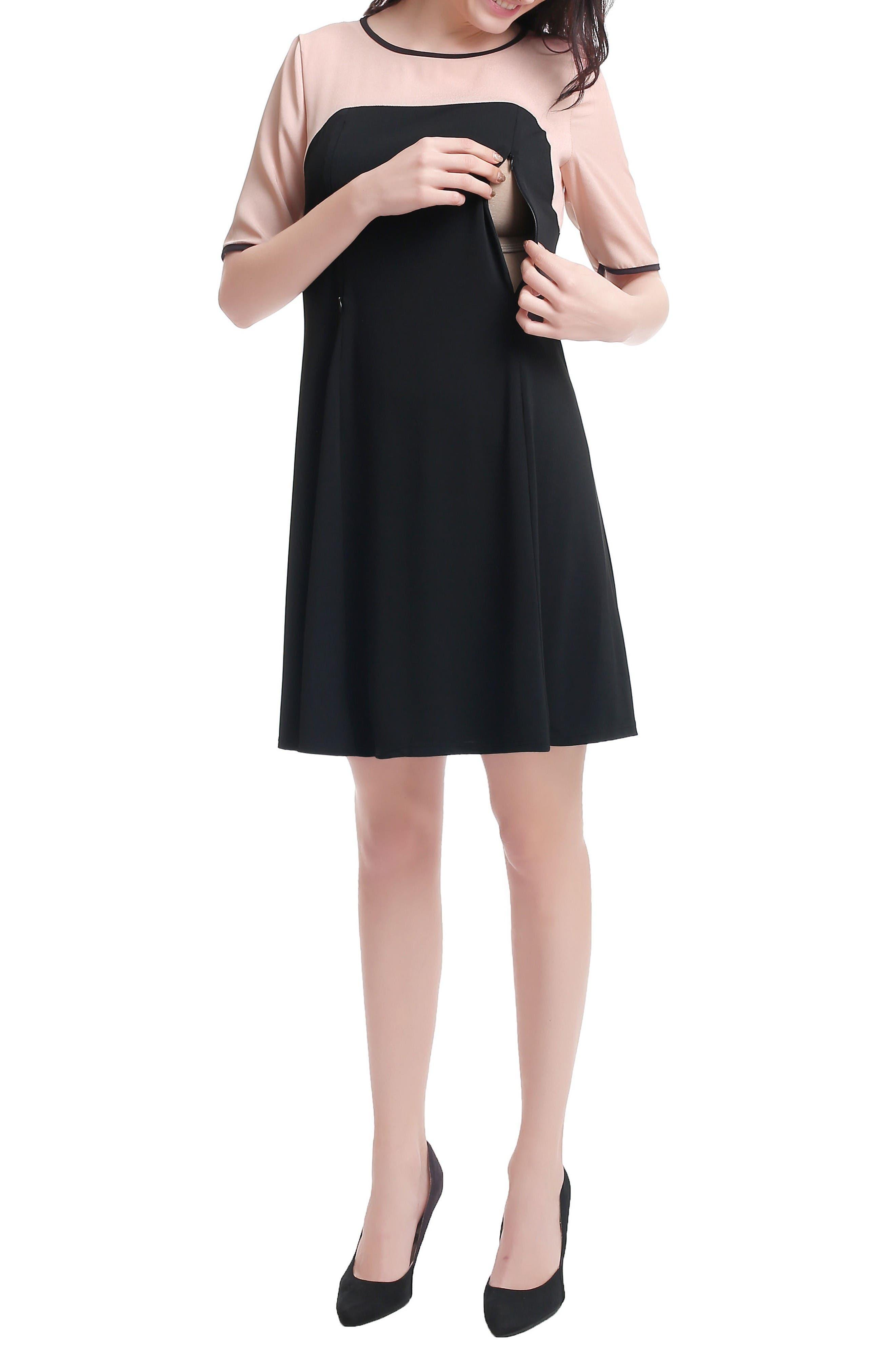 Kimi & Kai Maggie Maternity/Nursing Shift Dress,                             Alternate thumbnail 4, color,                             Black/ Blush