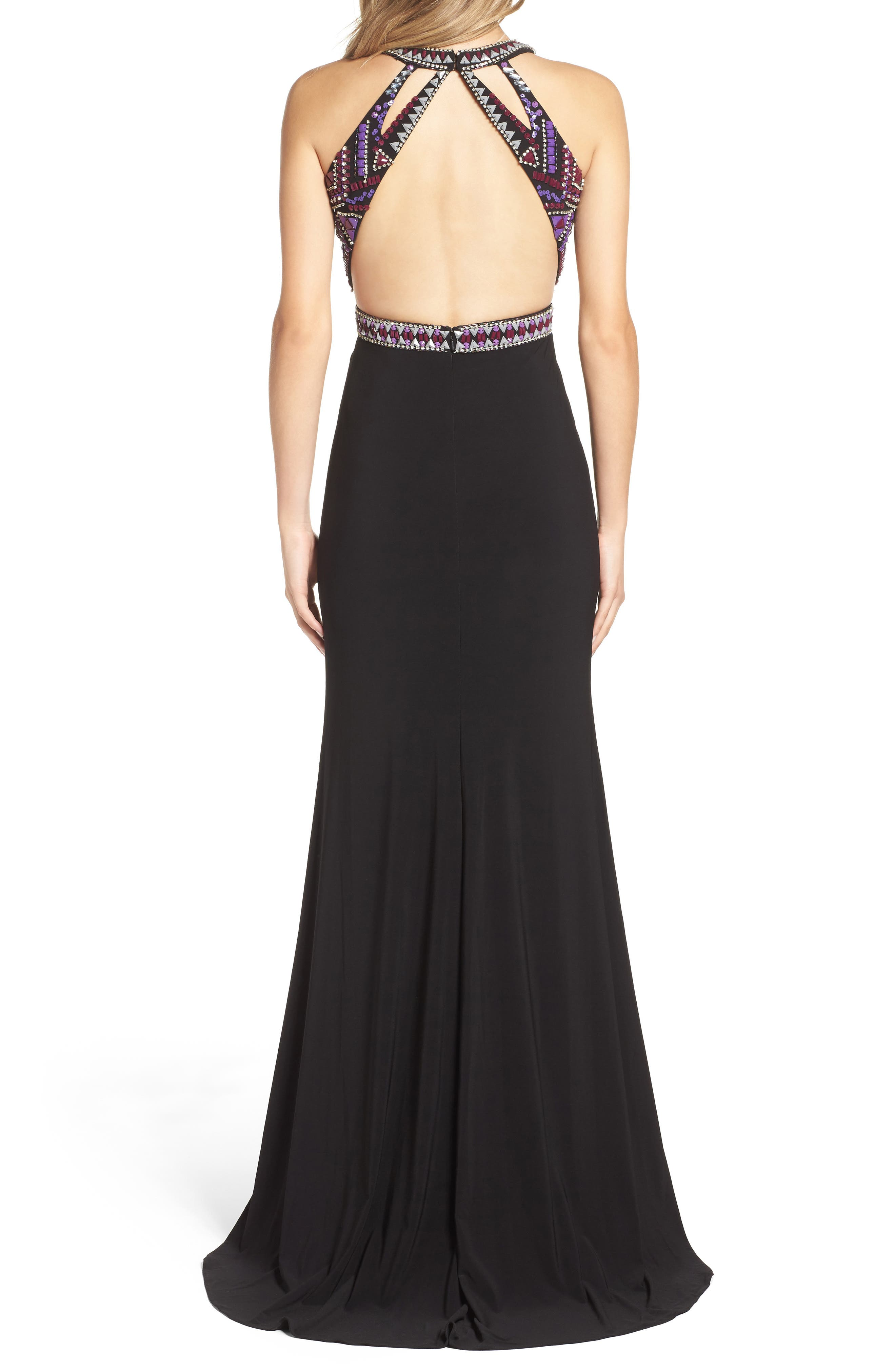 Embellished Jersey Gown,                             Alternate thumbnail 2, color,                             Black/ Multi