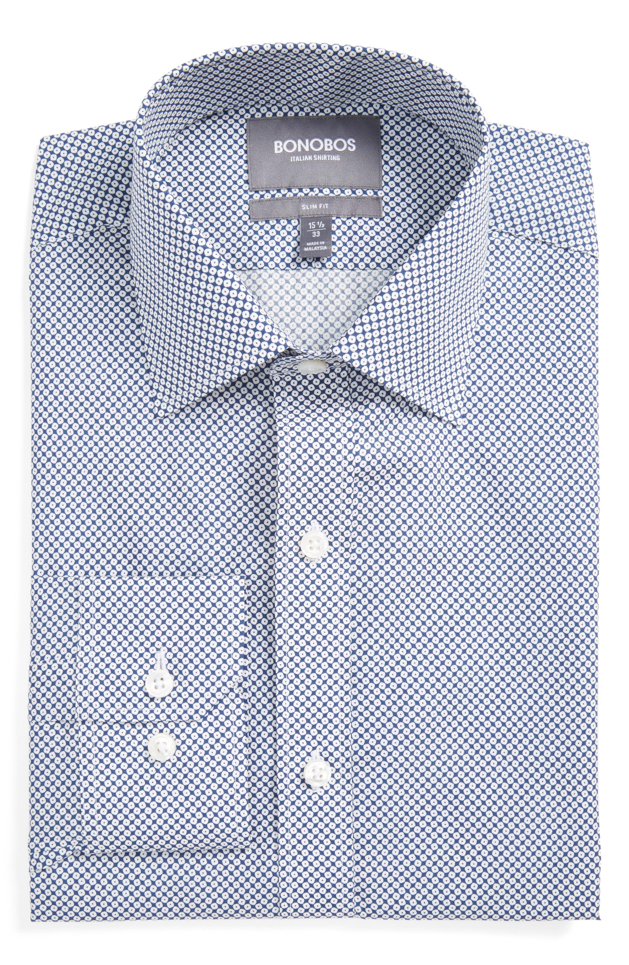 Americano Slim Fit Geometric Dress Shirt,                         Main,                         color, Navy Vista Geo