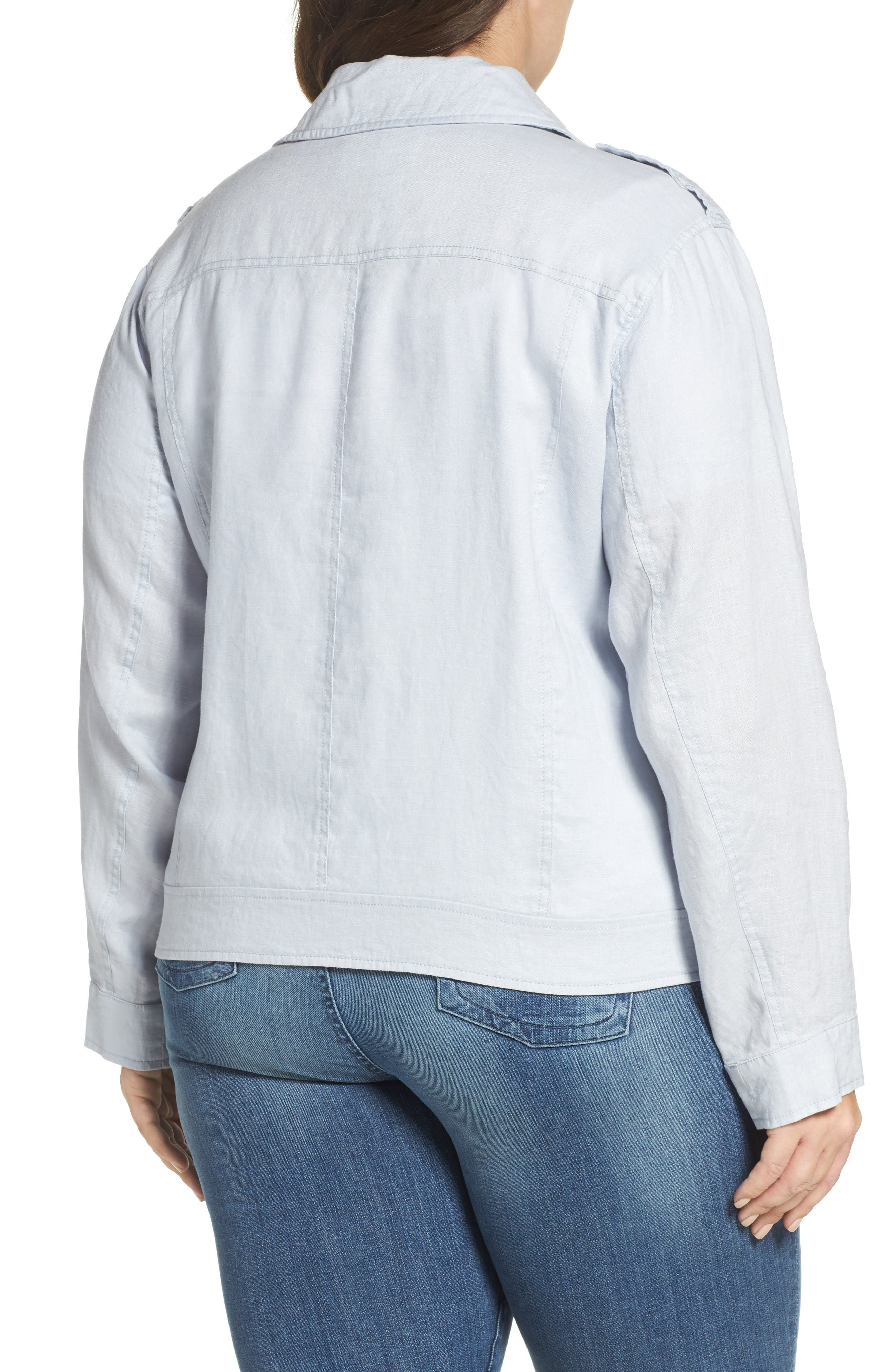 Alternate Image 2  - Two by Vince Camuto Drapey Linen Moto Jacket (Plus Size)