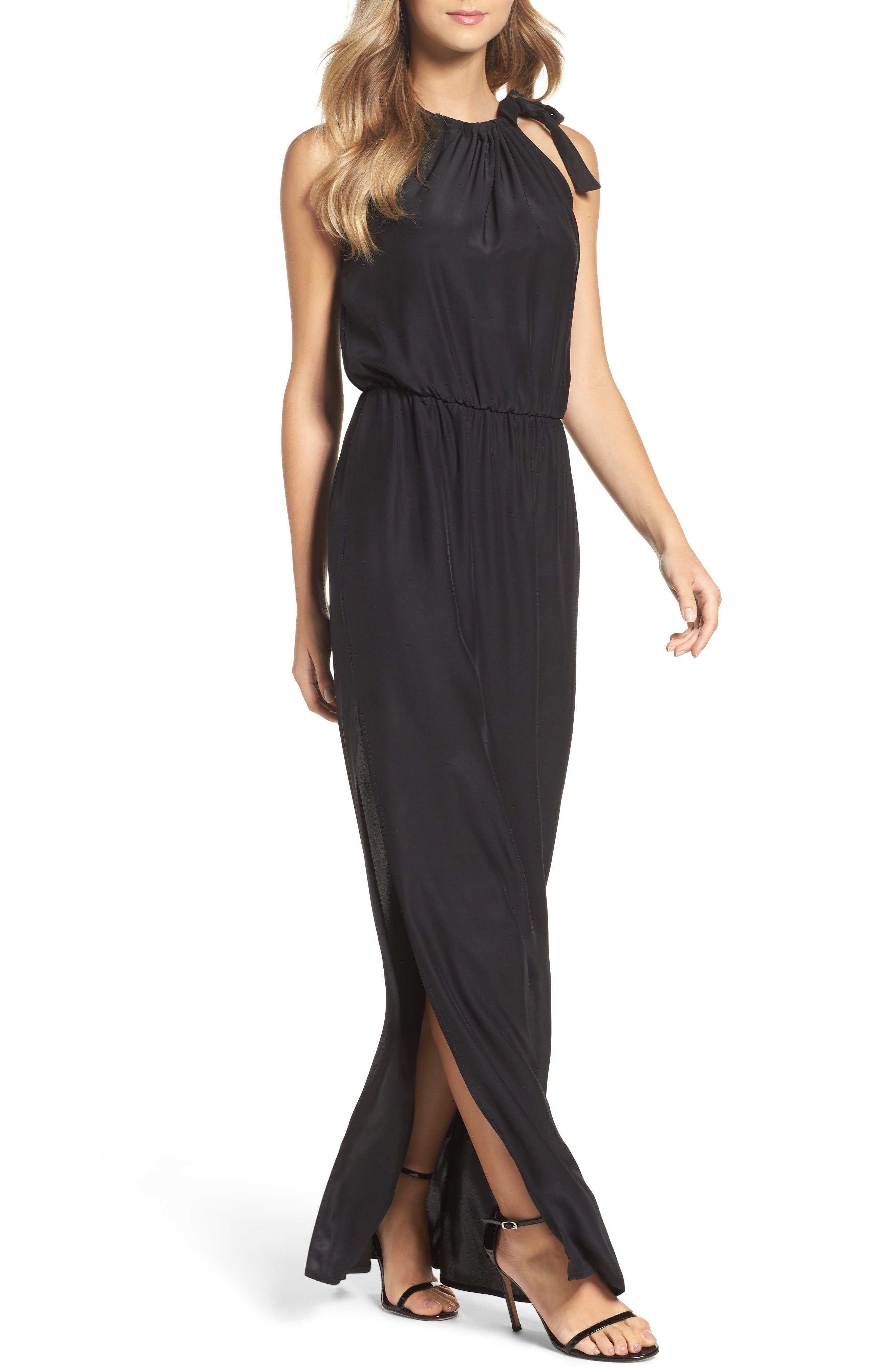High Neck Silk Column Gown,                         Main,                         color, Caviar