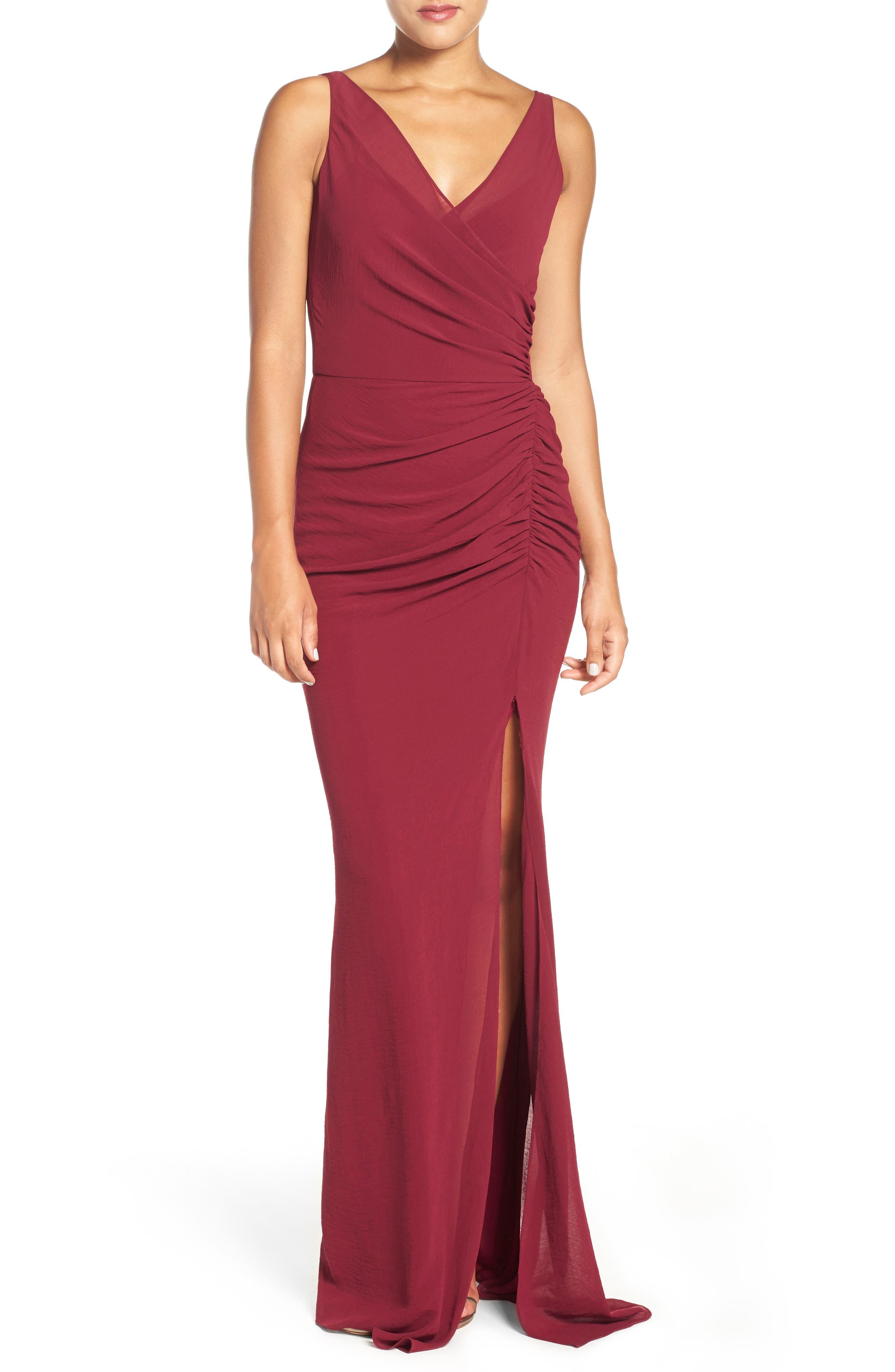 Wrap Front Chiffon Gown,                             Main thumbnail 1, color,                             Bordeaux