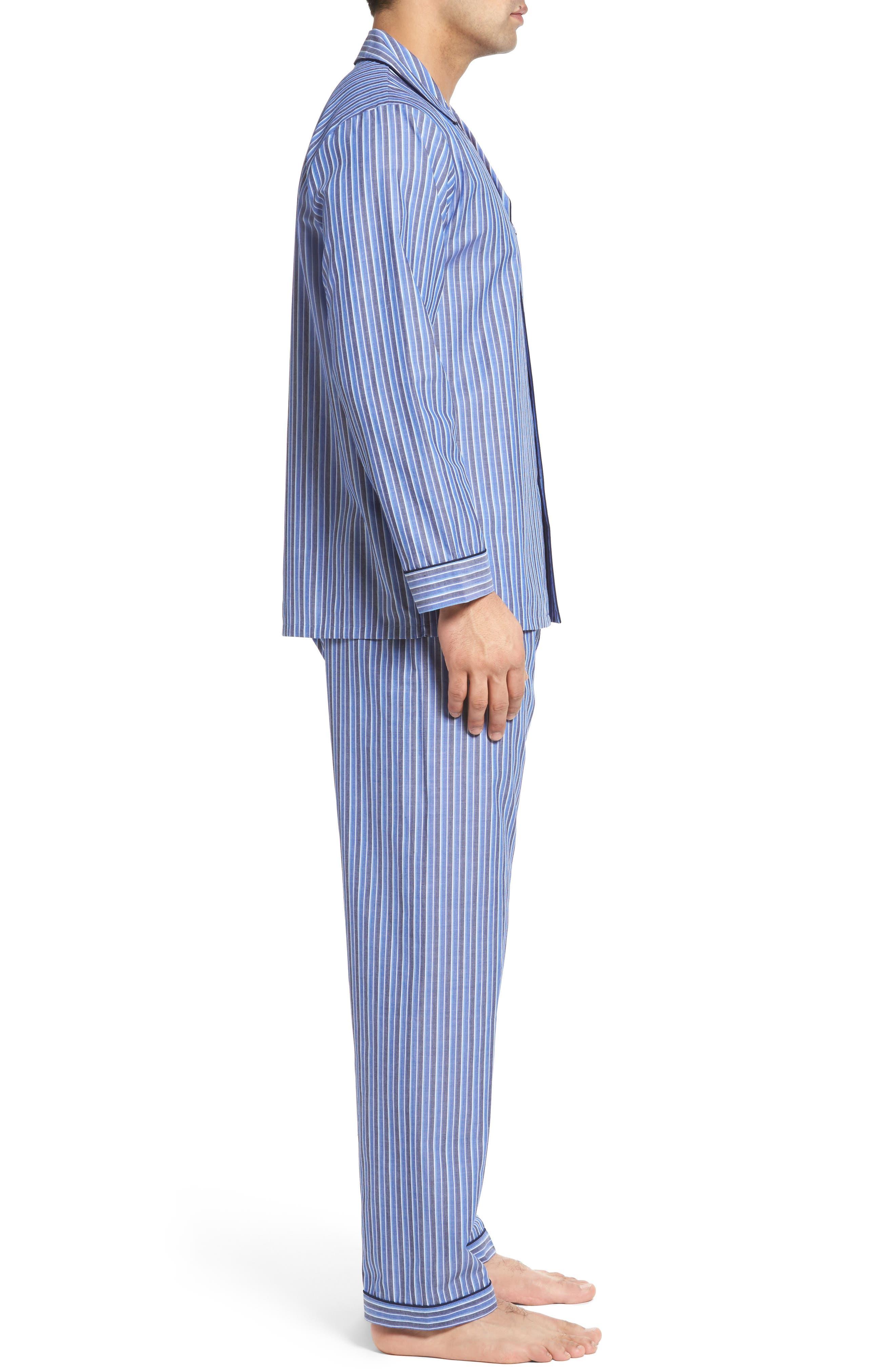 Cole Cotton Blend Pajama Set,                             Alternate thumbnail 3, color,                             Royal Stripe