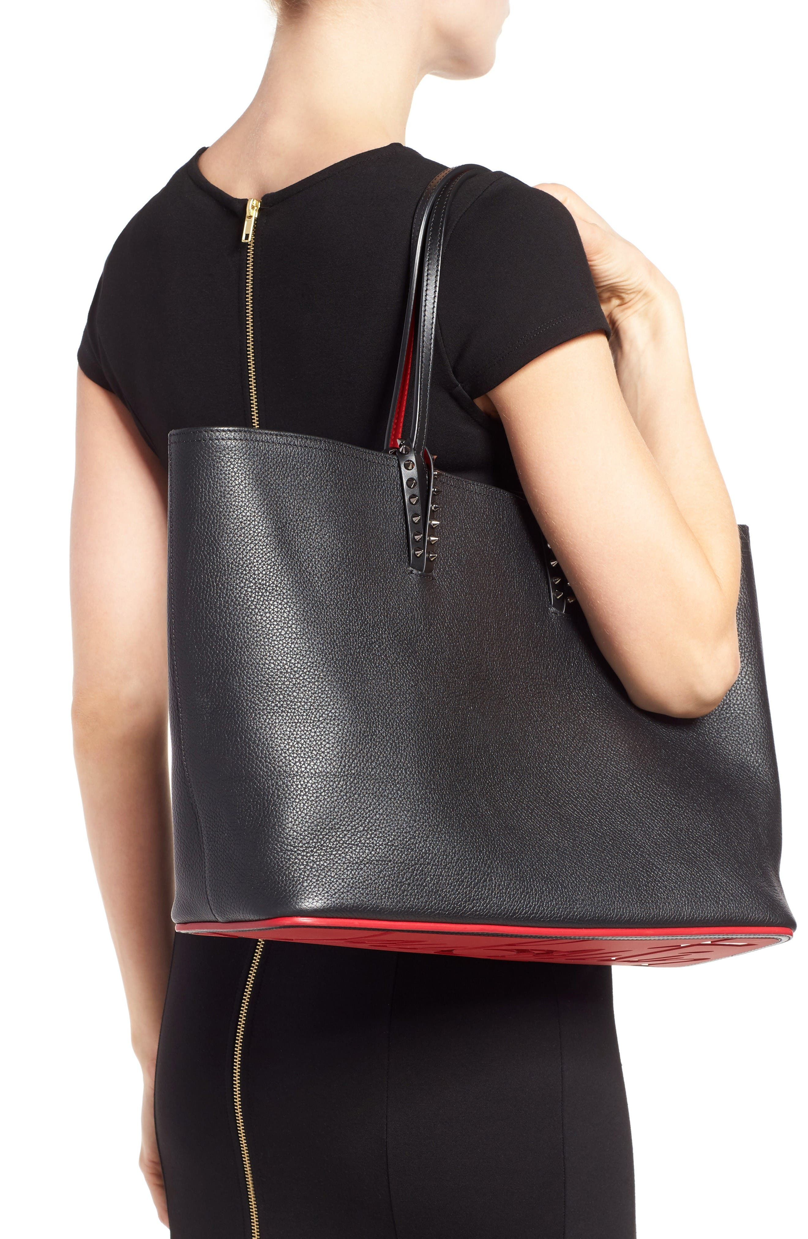 Cabata Calfskin Leather Tote,                             Alternate thumbnail 2, color,                             Black/Black