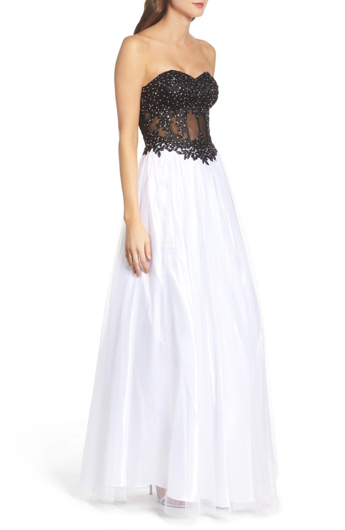 Alternate Image 3  - Blondie Nites Strapless Bustier Gown