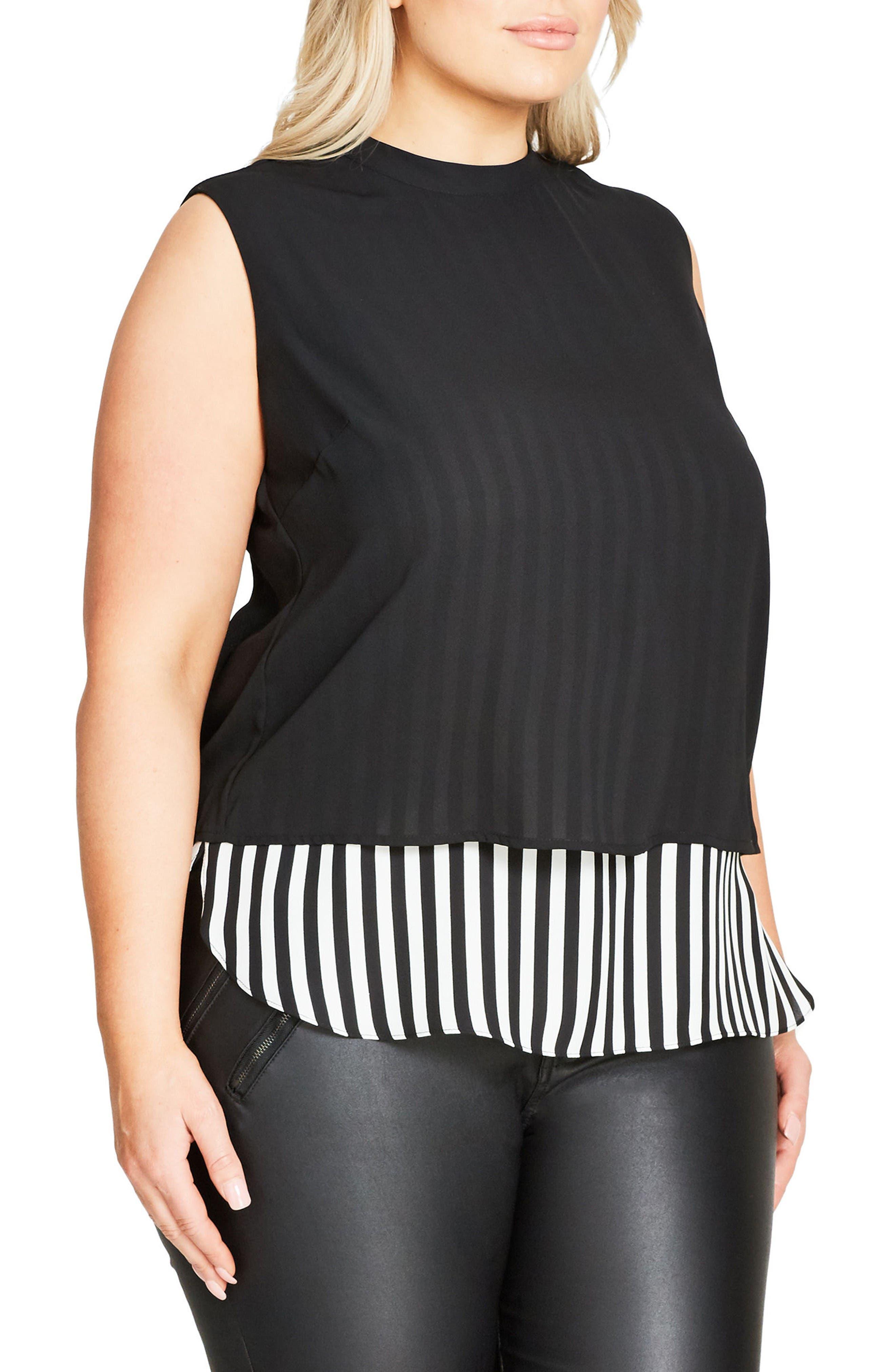 Peggy Lou Split Back Double Layer Top,                             Alternate thumbnail 4, color,                             Black