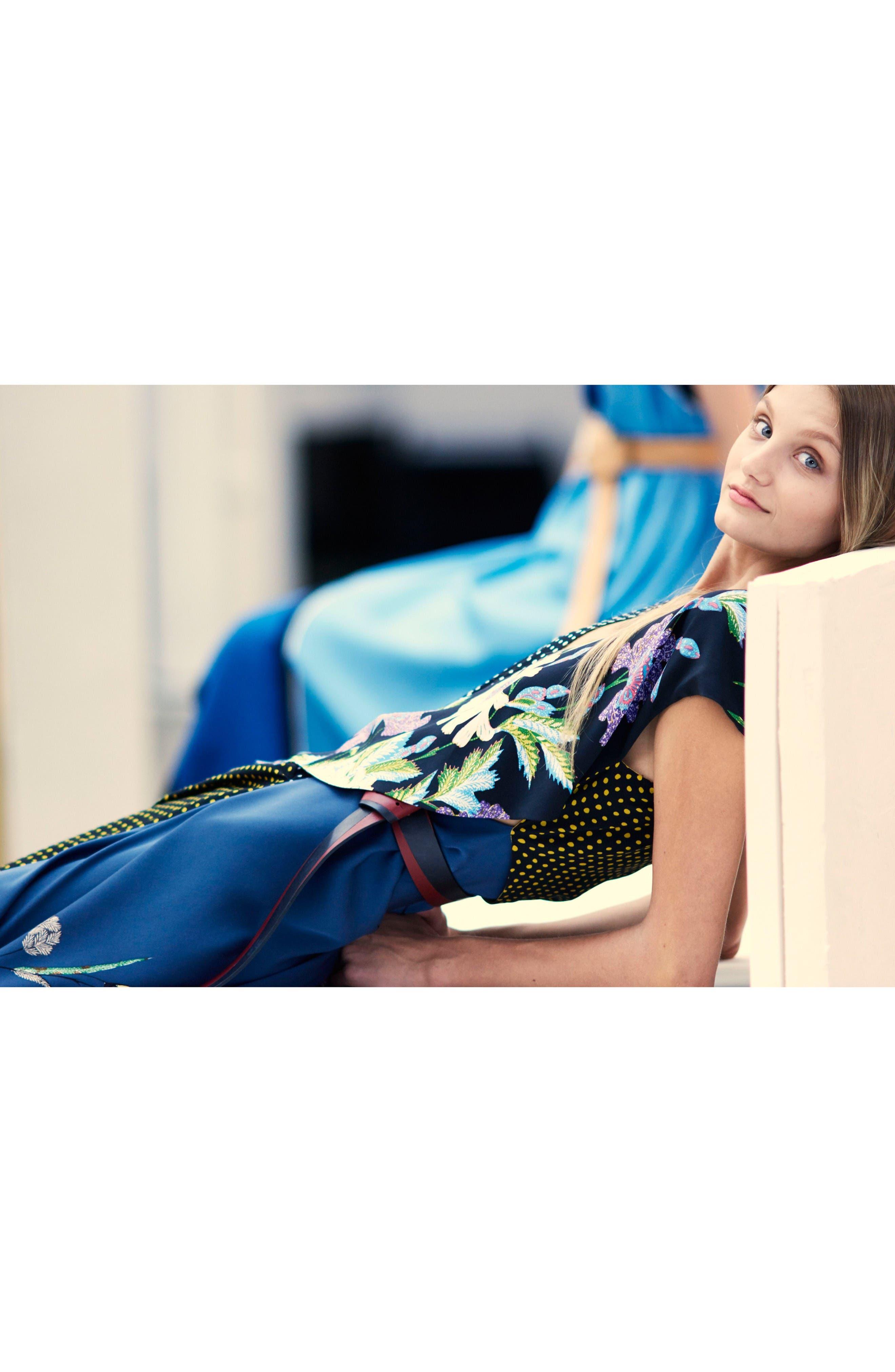 Faux Wrap Silk Maxi Dress,                             Alternate thumbnail 6, color,                             Ferma Blue