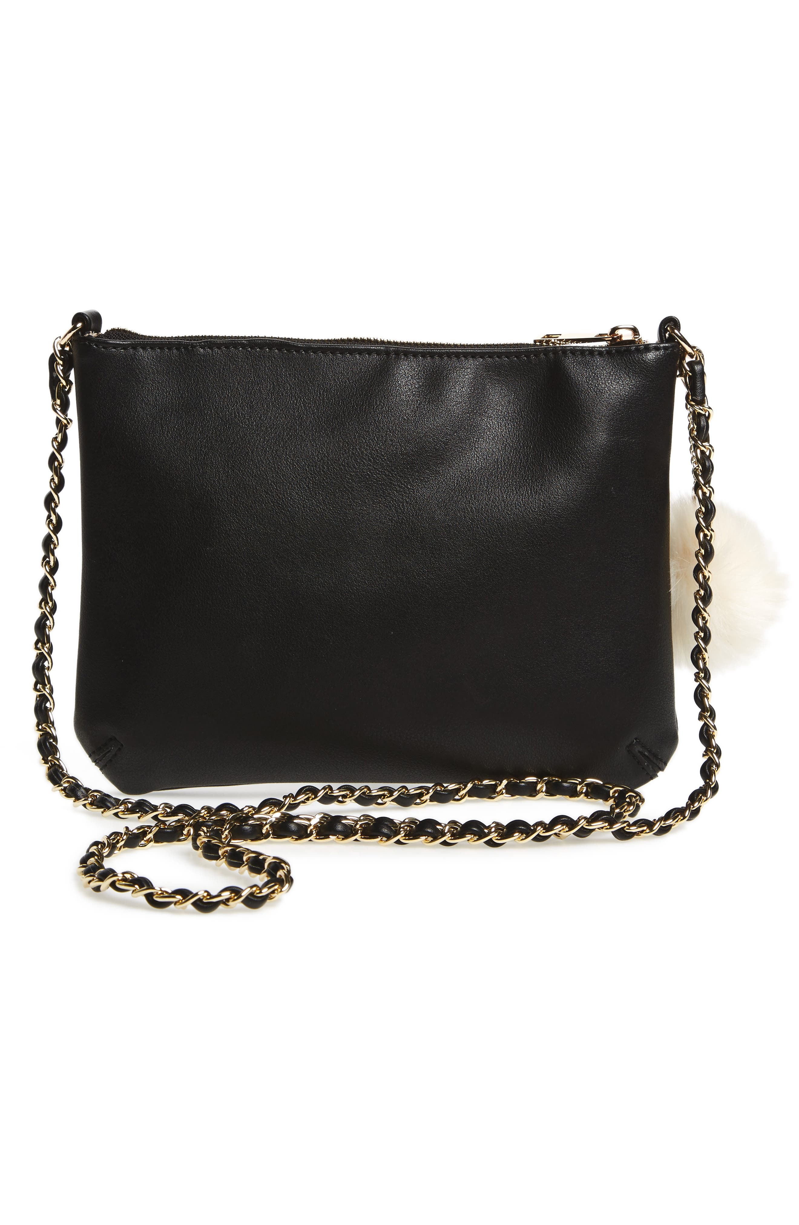 Alternate Image 2  - Emperia Faux Leather Crossbody Bag with Faux Fur Pom