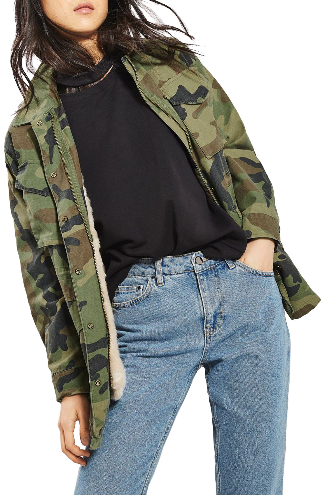 Alternate Image 1 Selected - Topshop Ben Faux Fur Lined Camo Jacket