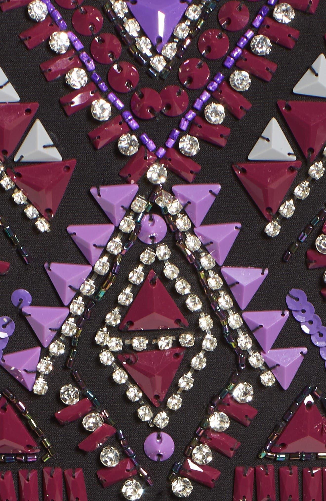 Embellished Jersey Gown,                             Alternate thumbnail 5, color,                             Black/ Multi