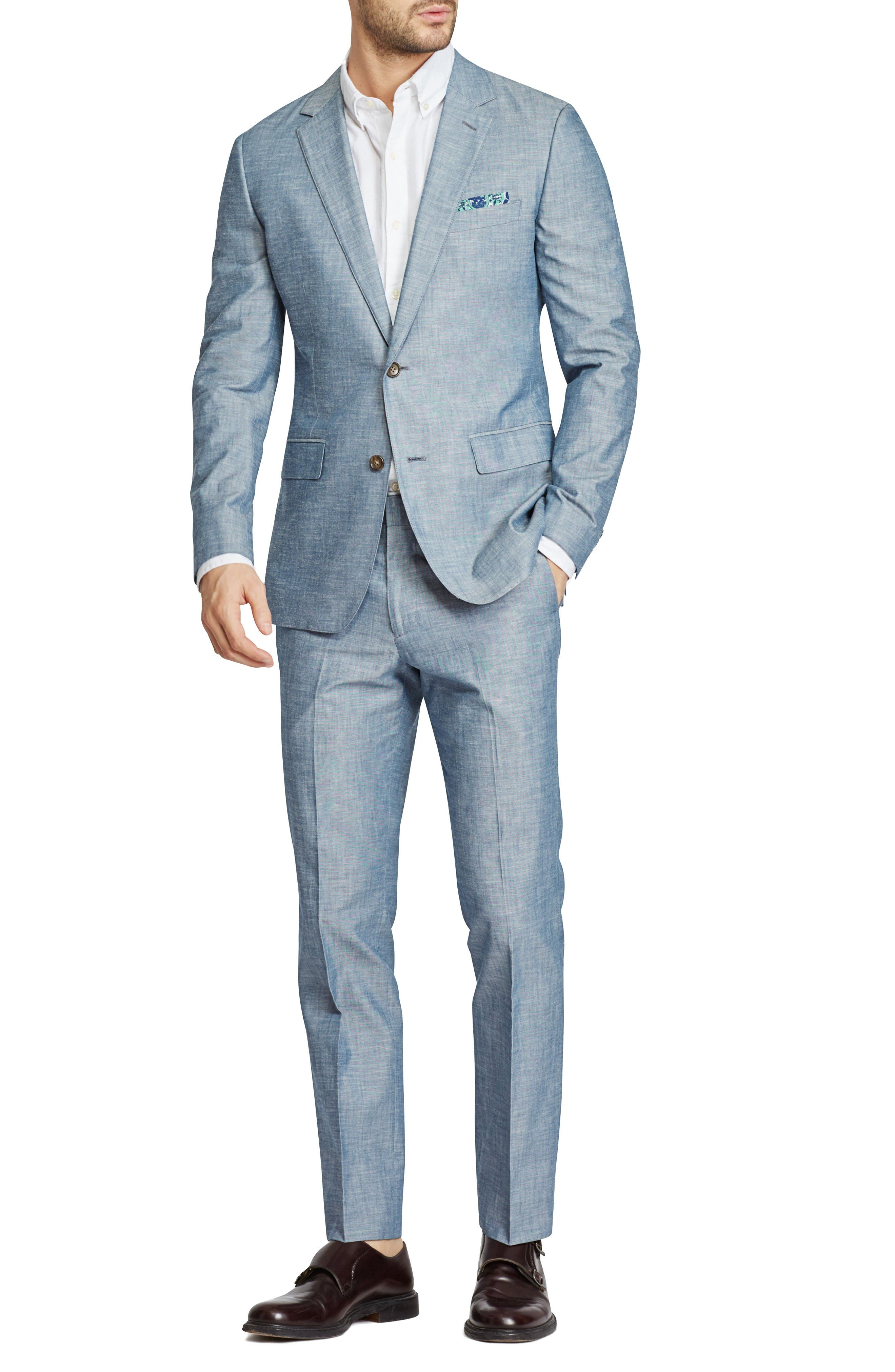 Trim Fit Chambray Cotton Blazer,                             Alternate thumbnail 5, color,                             Solid Blue