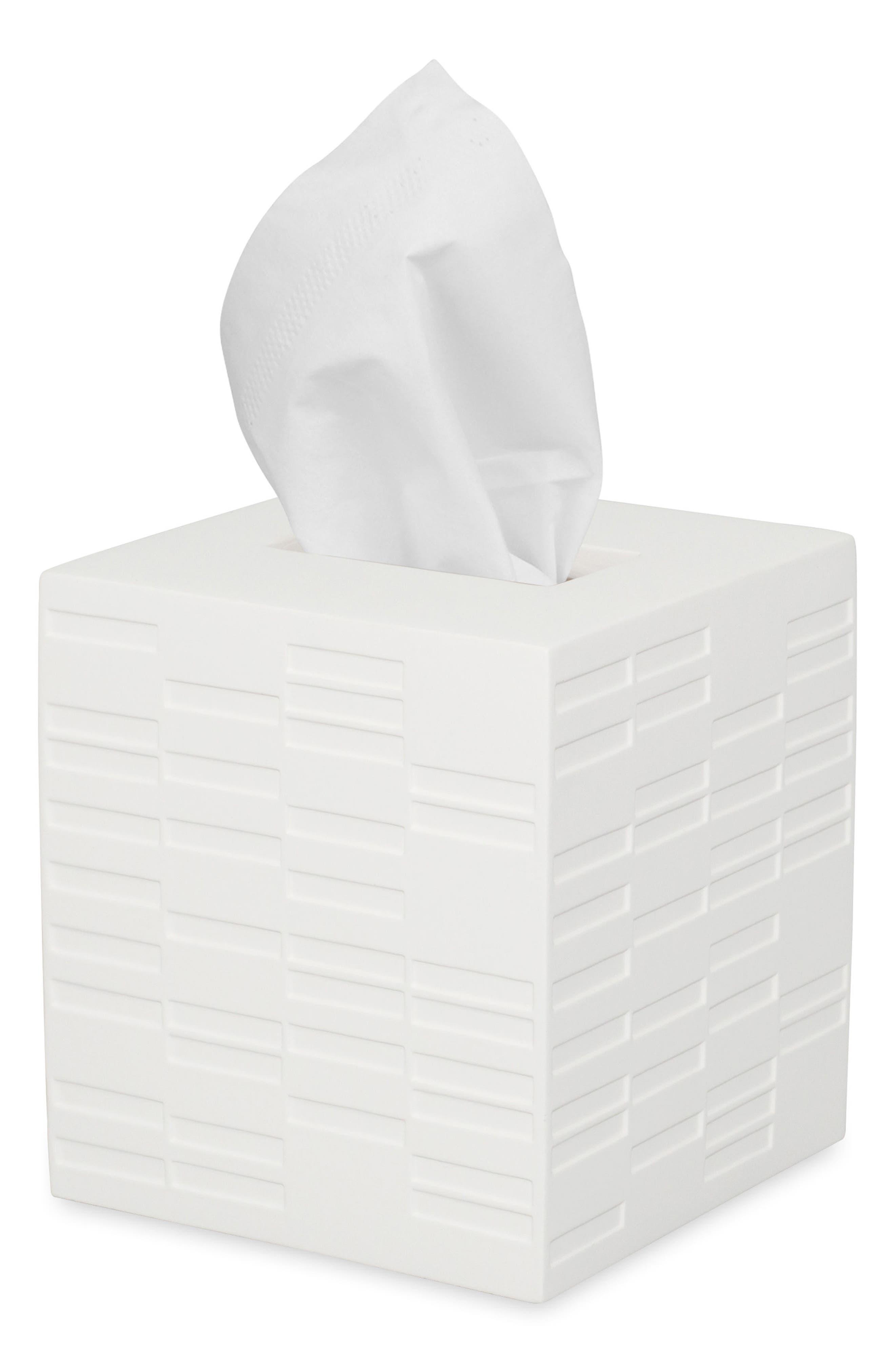High Rise Tissue Box Cover,                         Main,                         color, White