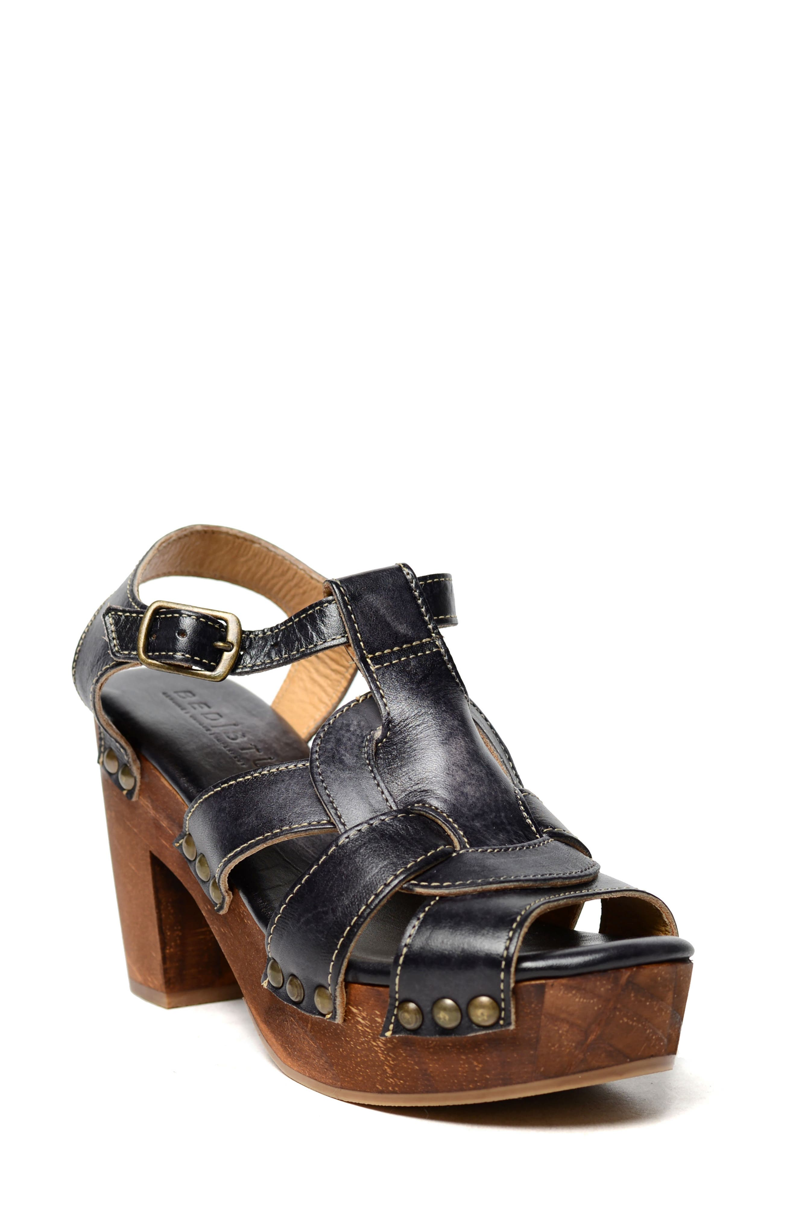 Caitlin Block Heel Sandal,                             Main thumbnail 1, color,                             Black Driftwood Leather