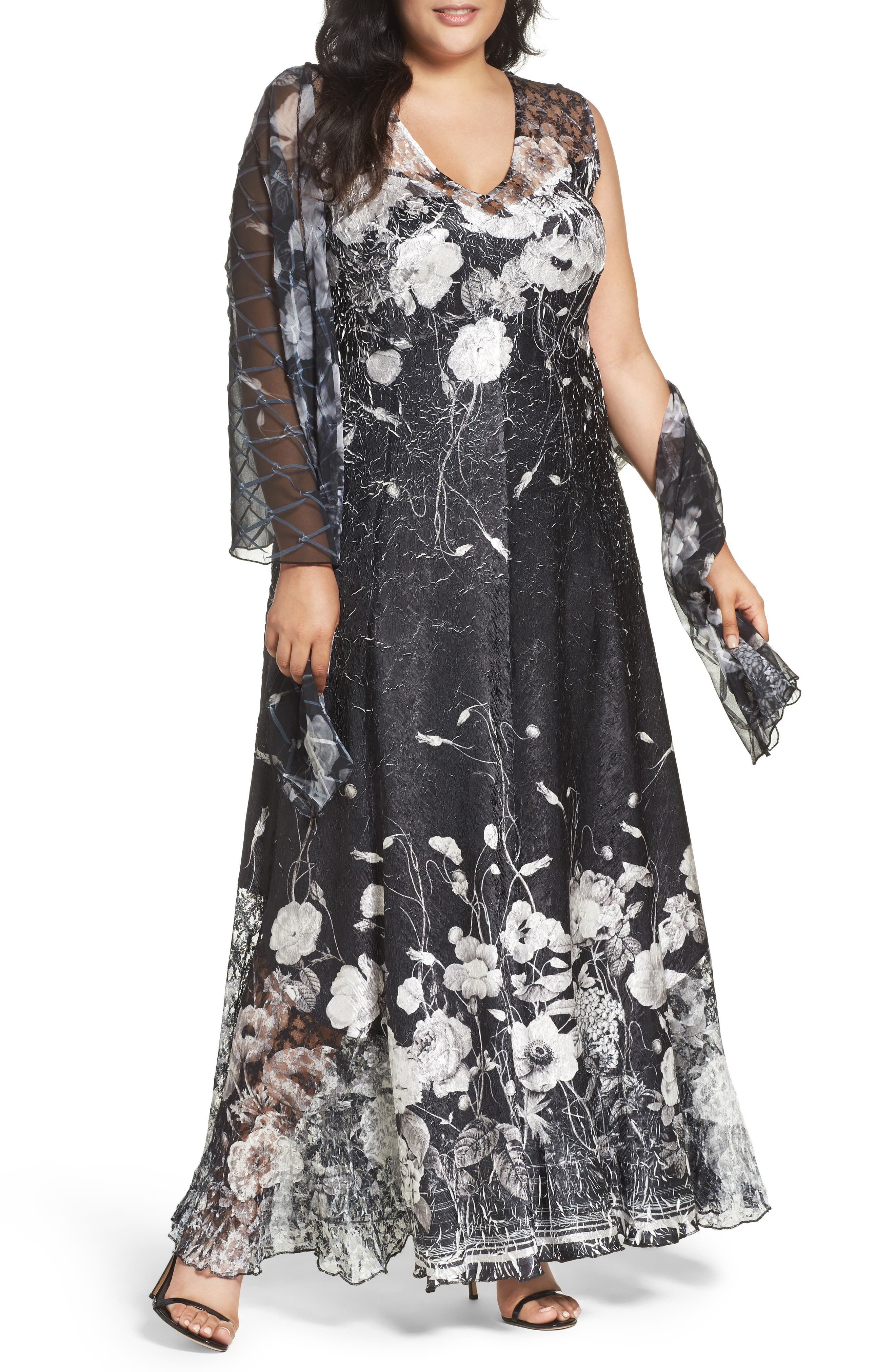 Lace-Up Back Floral Gown & Shawl,                             Main thumbnail 1, color,                             Black Opium