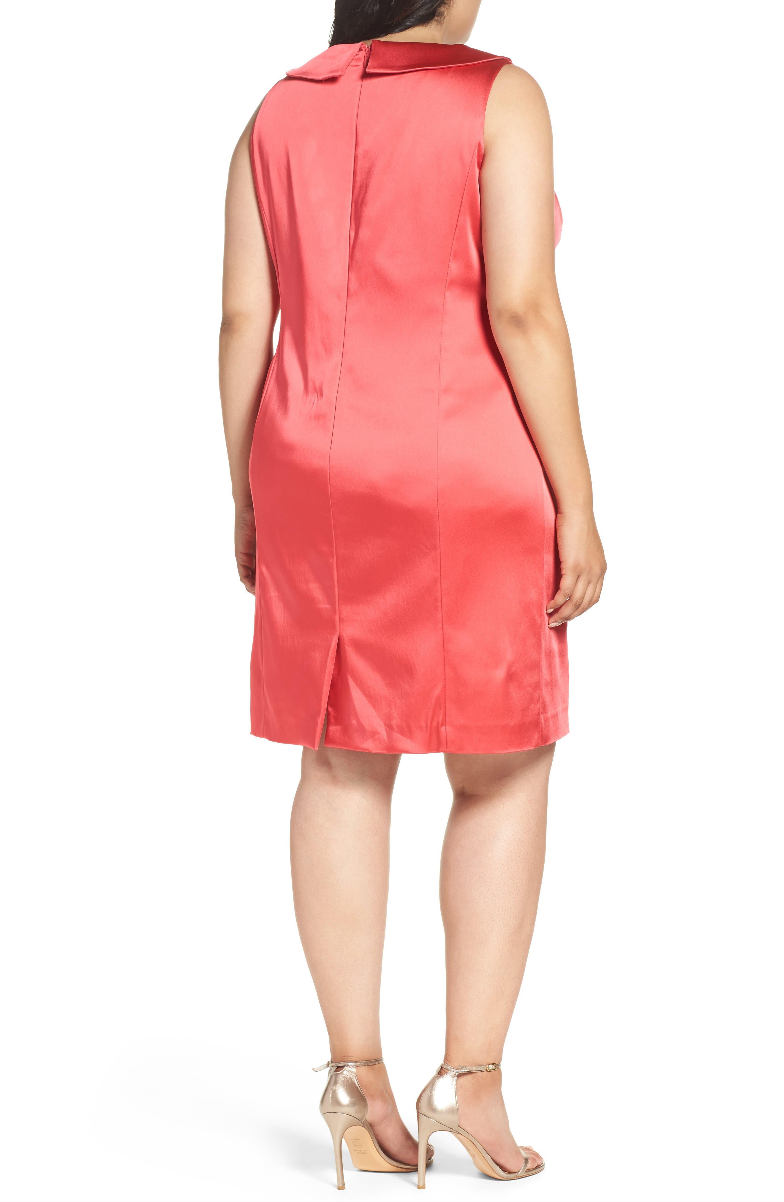 Collared Faux Wrap Dress,                             Alternate thumbnail 2, color,                             Geranium