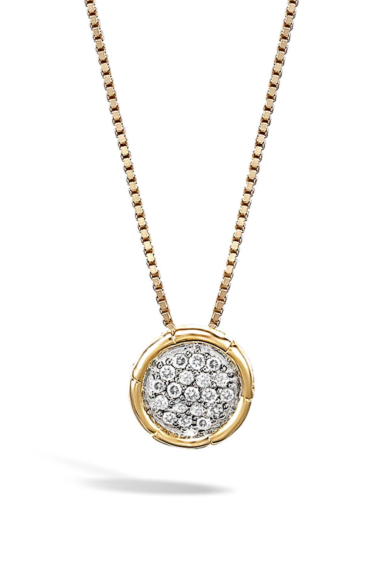 Bamboo Diamond Pendant Necklace,                             Main thumbnail 1, color,                             Gold