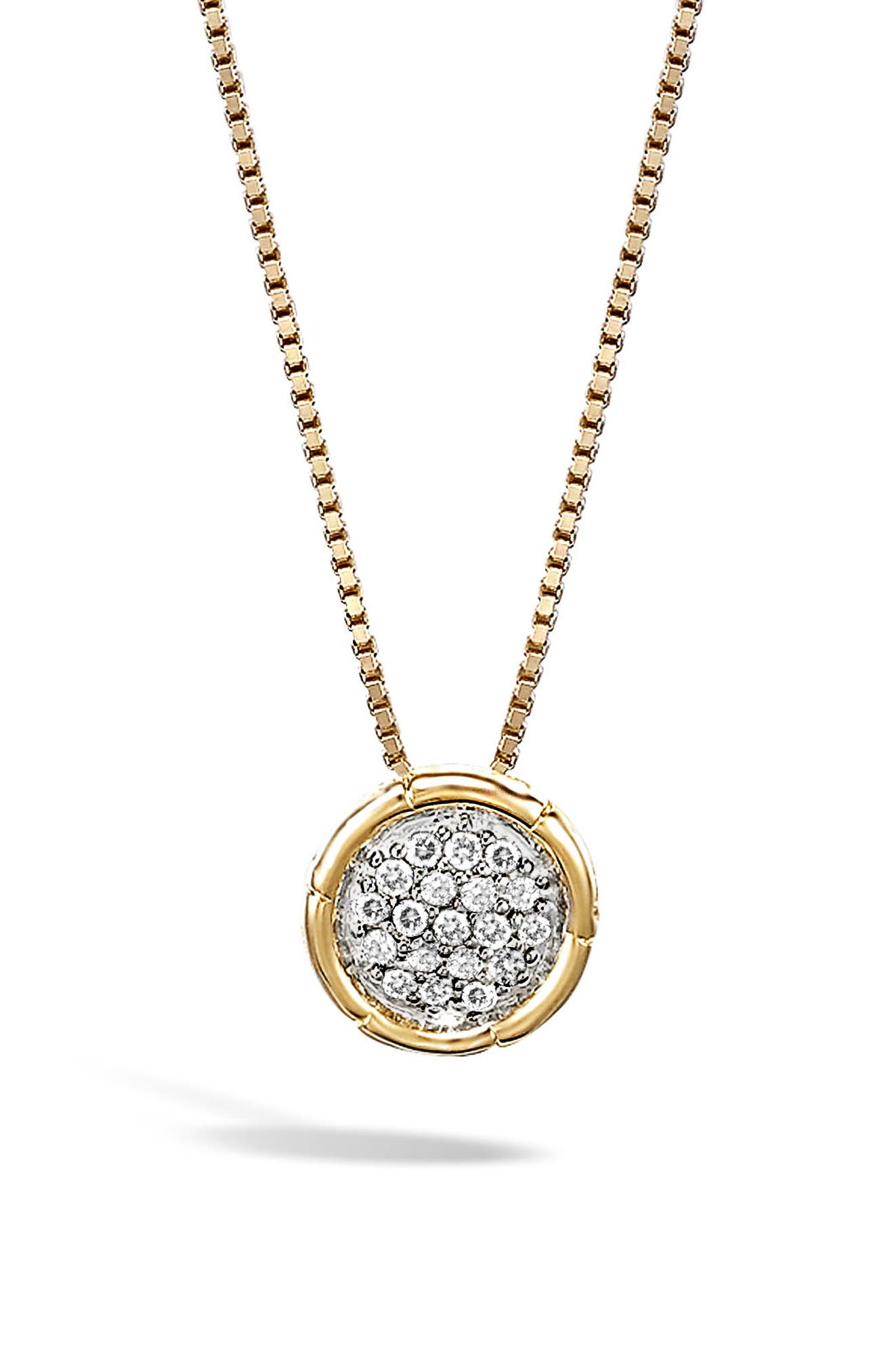 Bamboo Diamond Pendant Necklace,                         Main,                         color, Gold