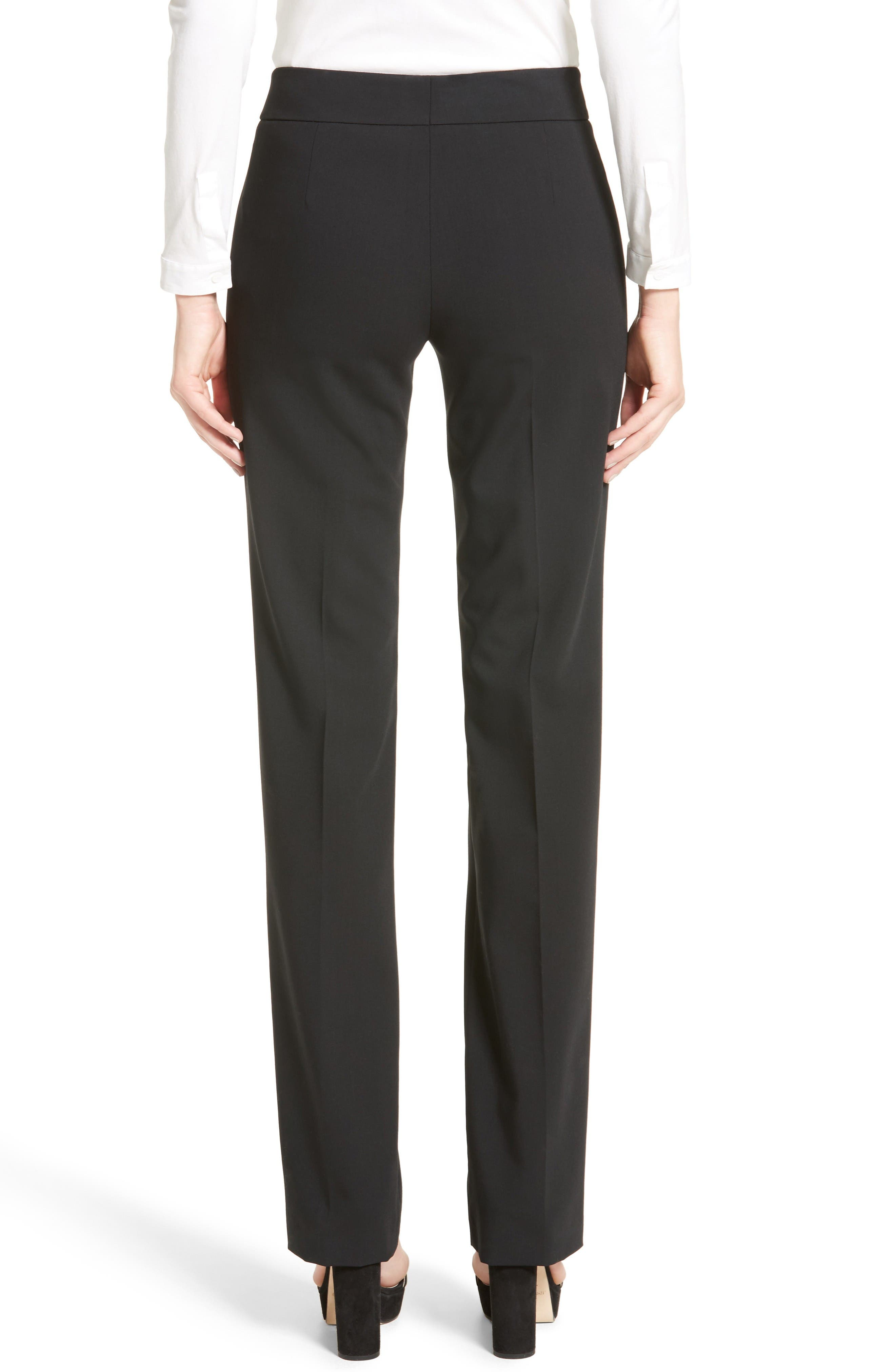 'Madison' Straight Leg Wool Trousers,                             Alternate thumbnail 2, color,                             Black