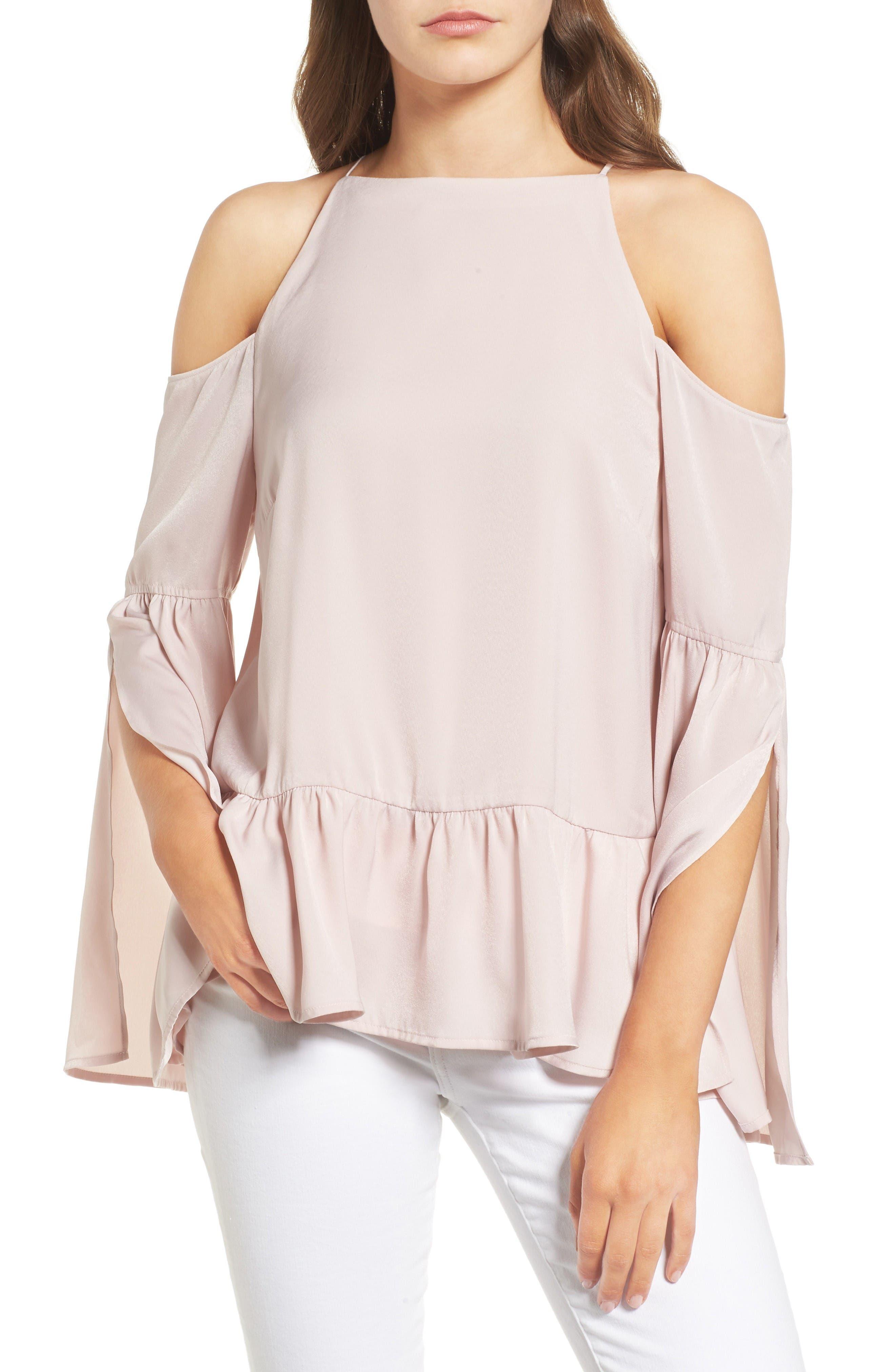 Bell Sleeve Cold Shoulder Top,                         Main,                         color, Pink Hush