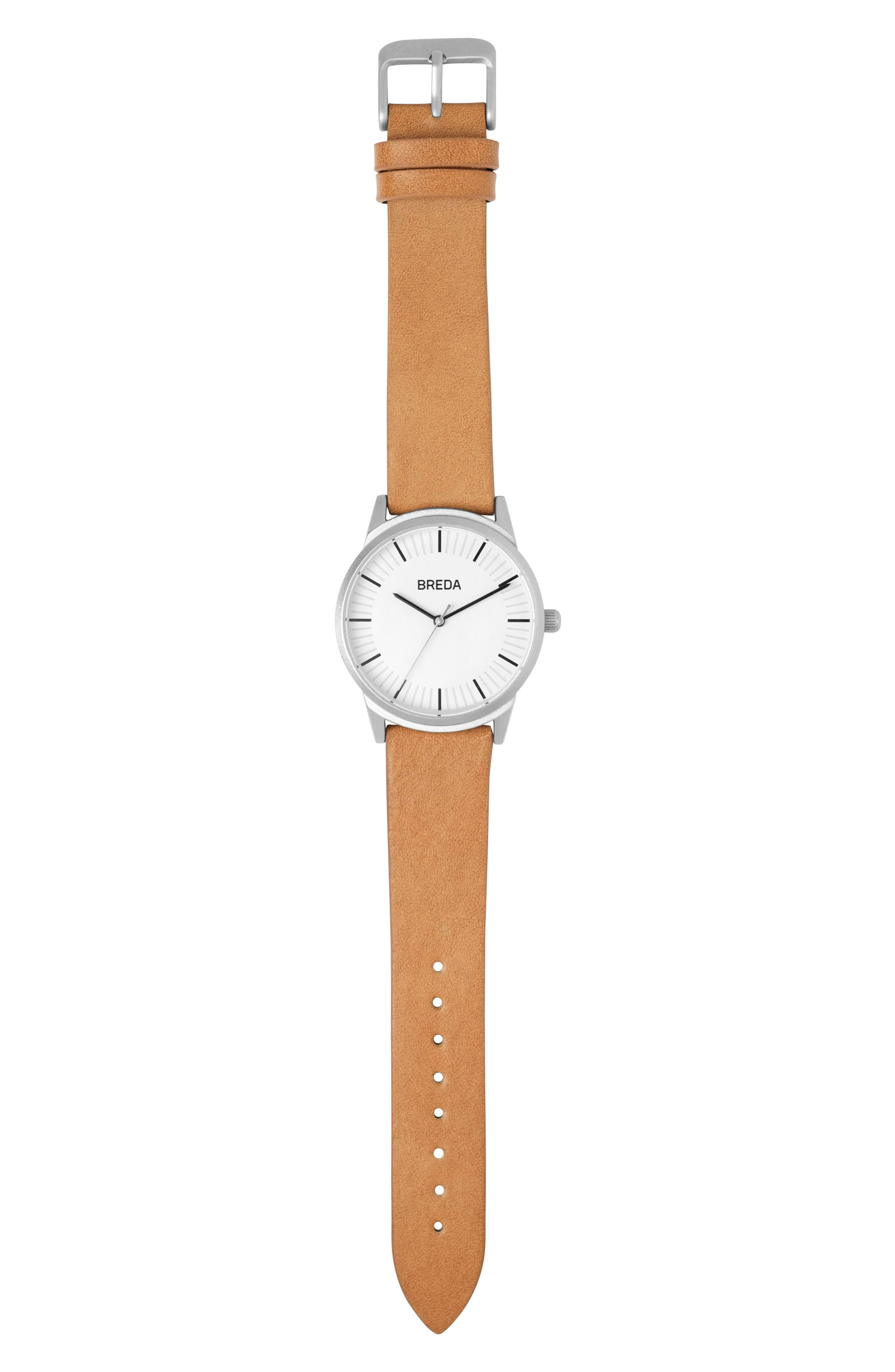 Alternate Image 3  - BREDA Bresson Leather Strap Watch, 42mm