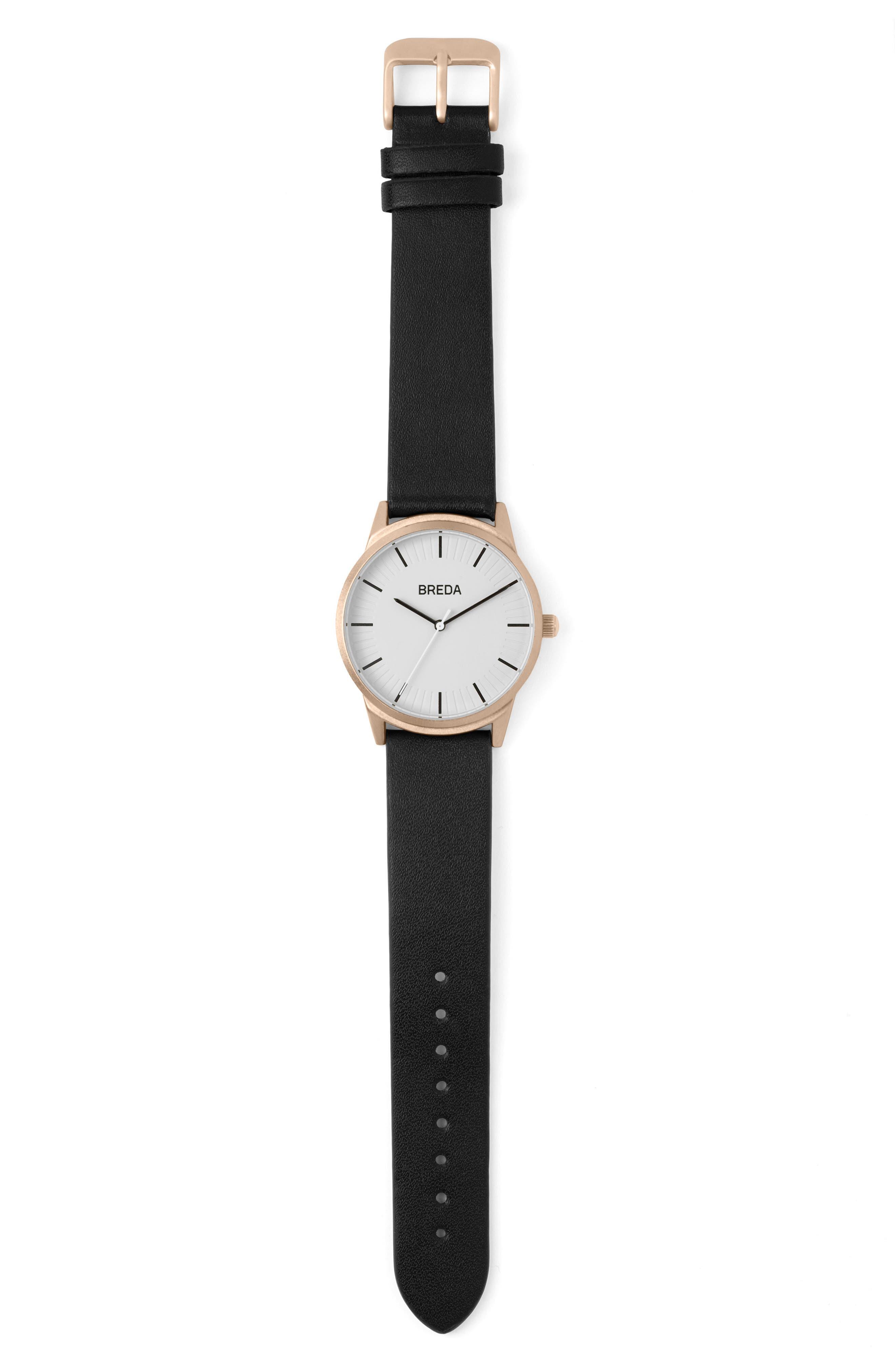 Alternate Image 3  - BREDA Bresson Leather Strap Watch, 42mm