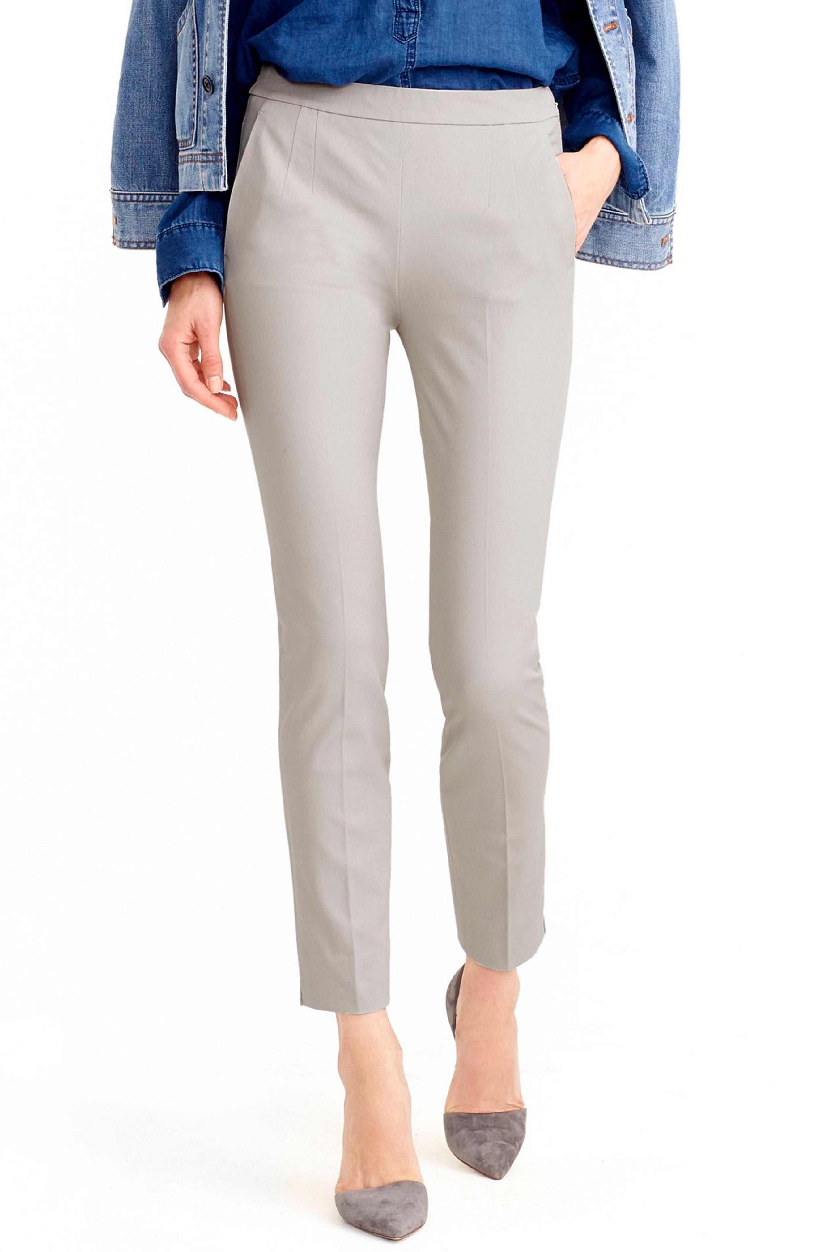 J.Crew 'Martie' Bi-Stretch Cotton Blend Pants,                         Main,                         color, Cloud Grey