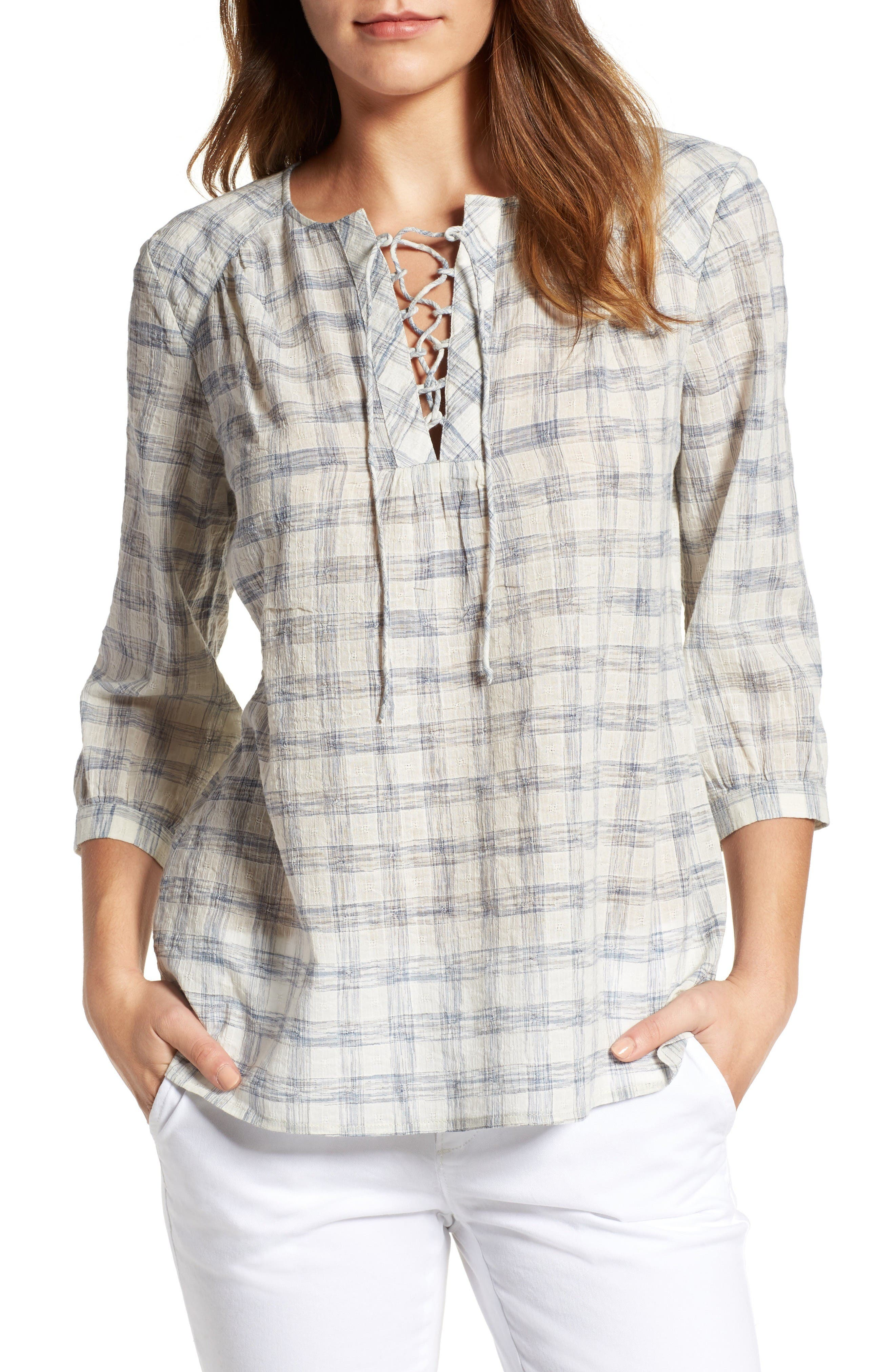 Main Image - Caslon® Print Lace-Up Peasant Top