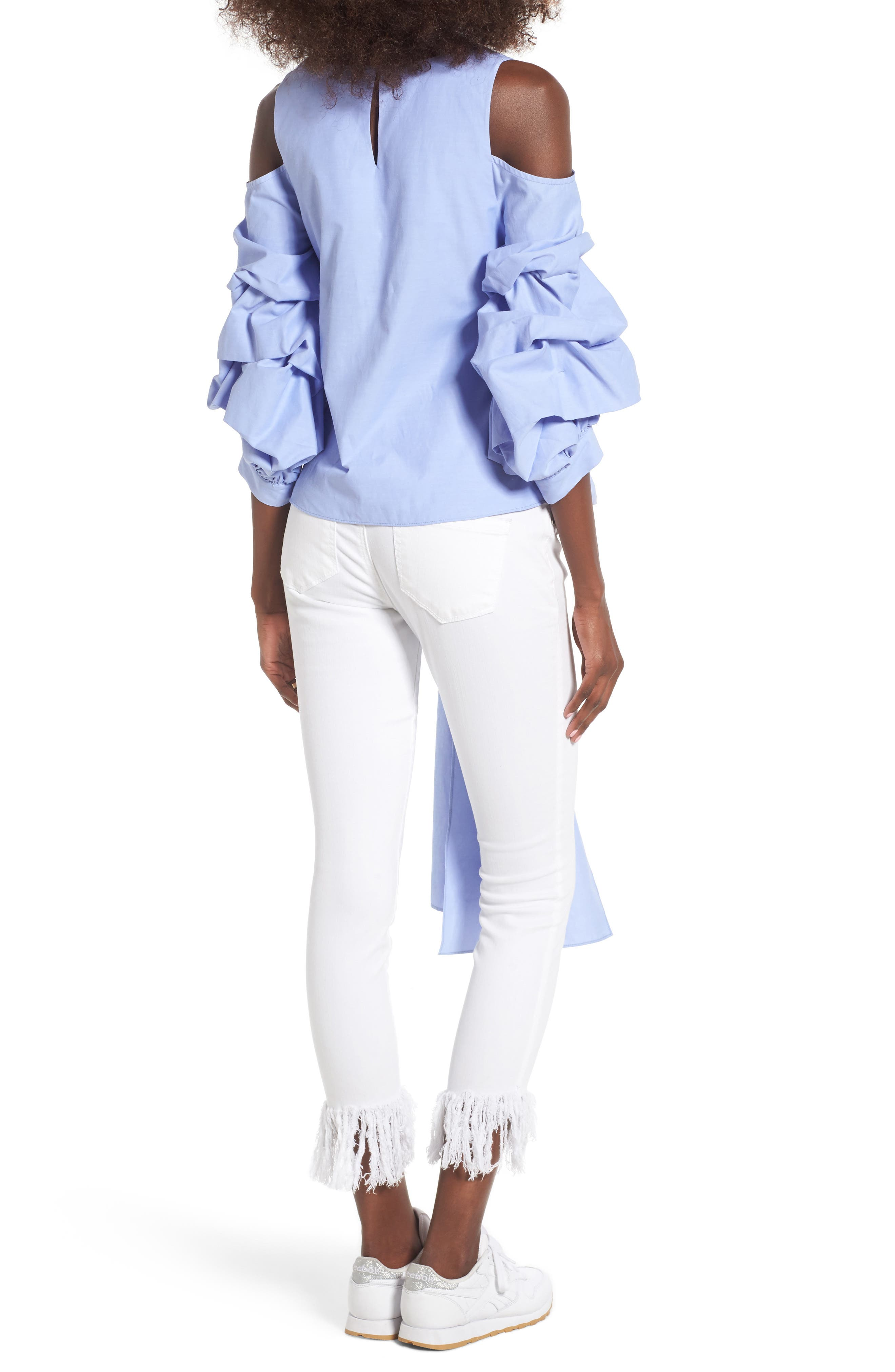 Alternate Image 2  - J.O.A. Ruffle Sleeve Tie Front Top