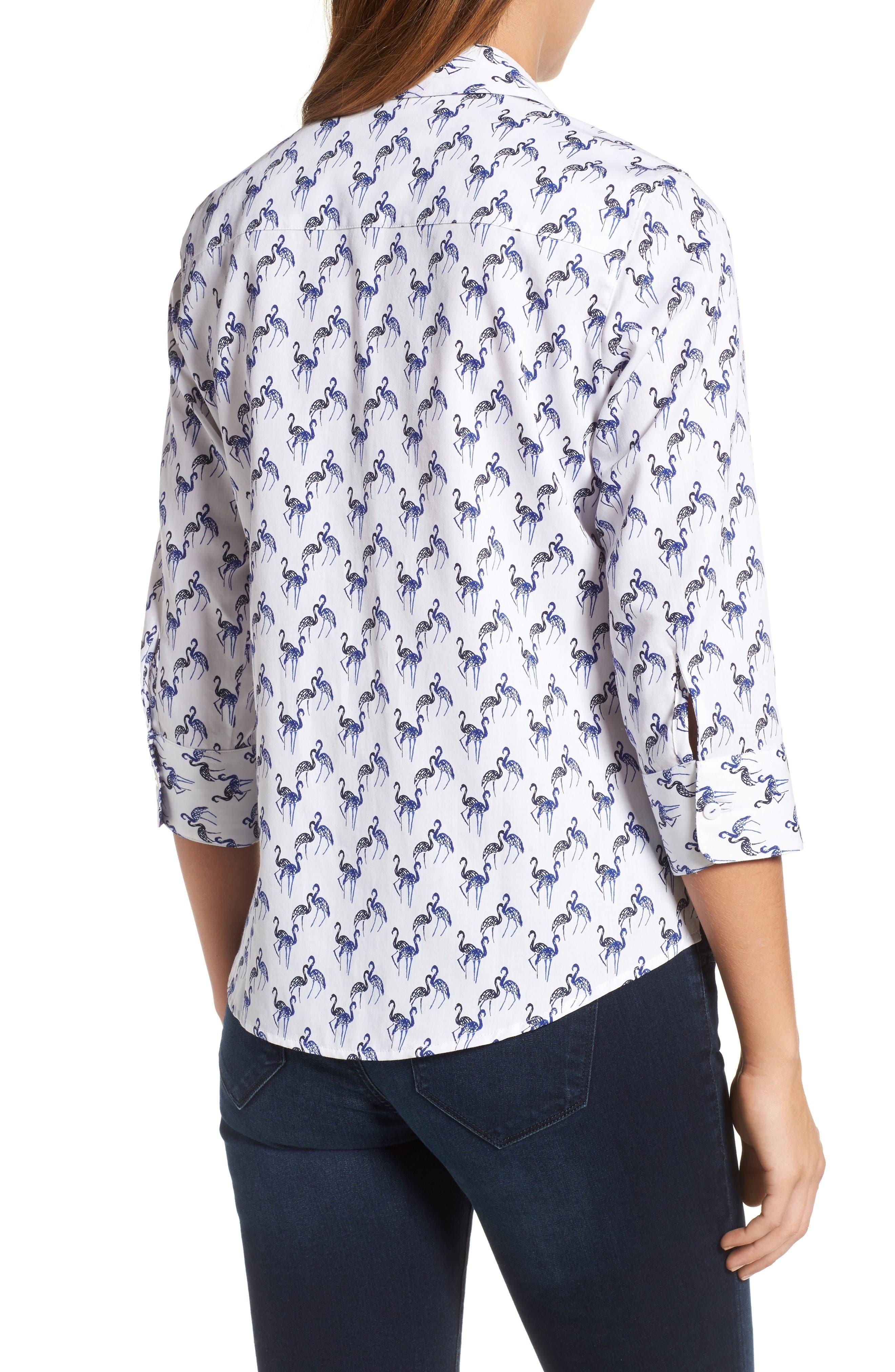 Flamingo Print Wrinkle Free Shirt,                             Alternate thumbnail 2, color,                             Blue Lagoon