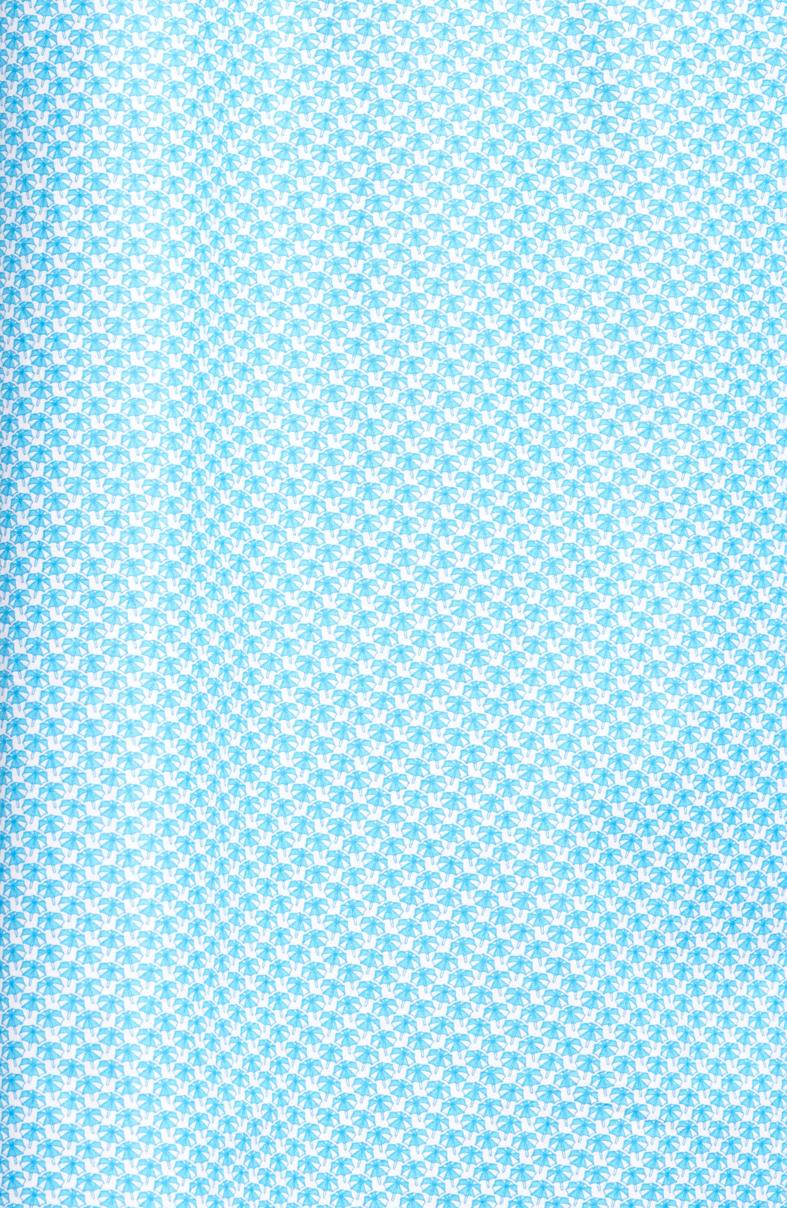 Classic Fit Umbrella Print Sport Shirt,                             Alternate thumbnail 5, color,                             Turquoise