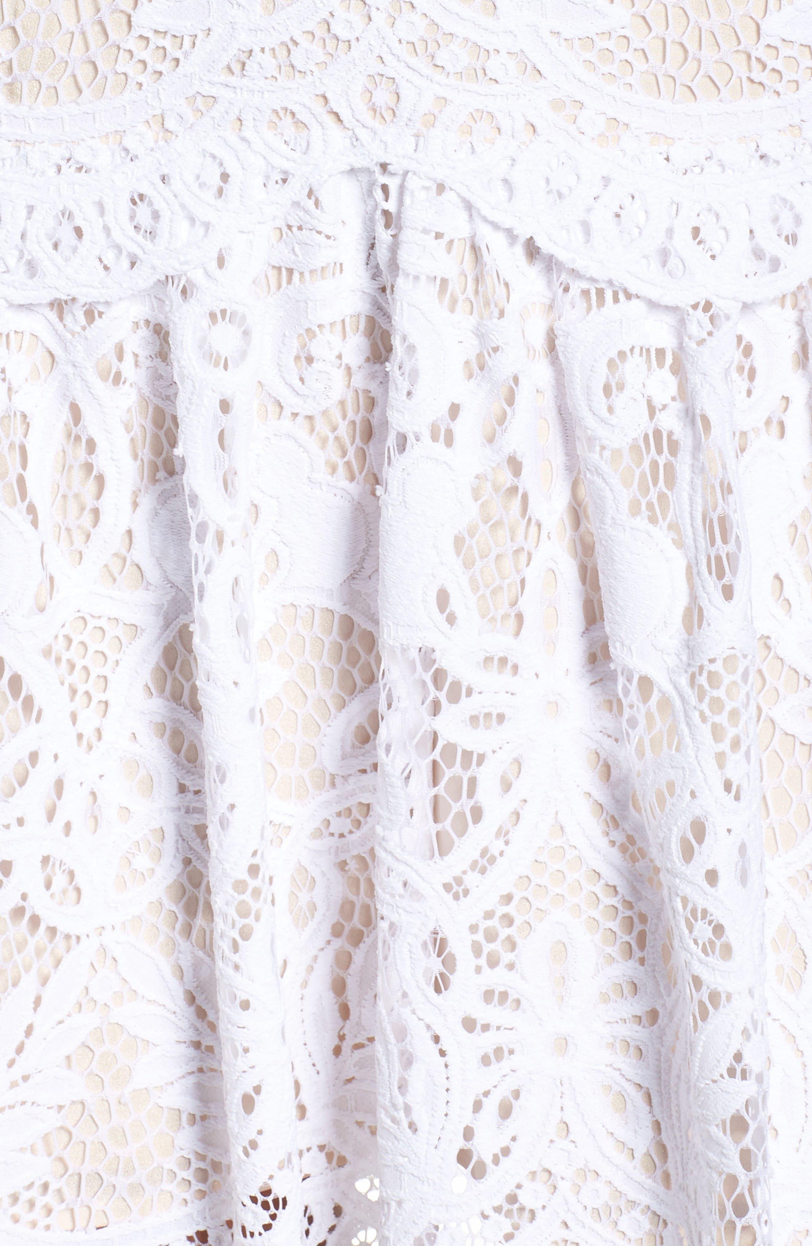 Adella Lace Dress,                             Alternate thumbnail 6, color,                             Resort White