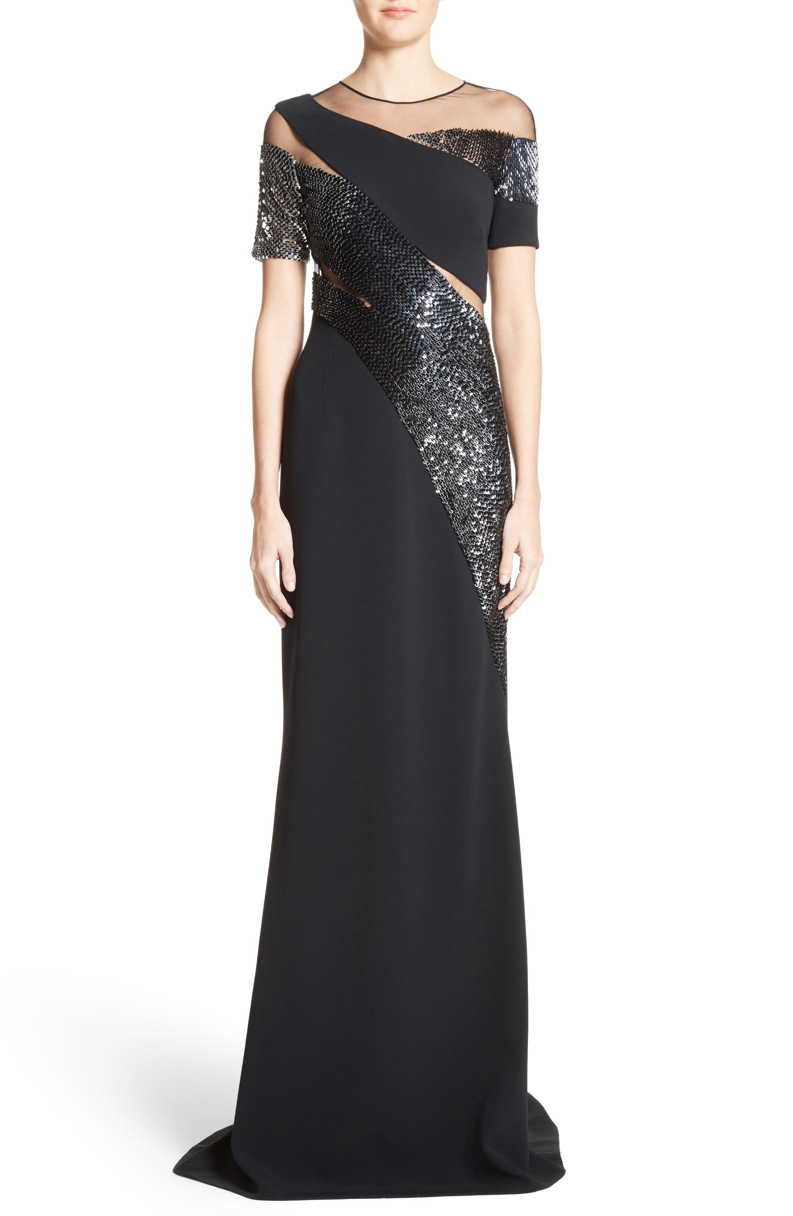 Sequined Silk Gown,                         Main,                         color, Black