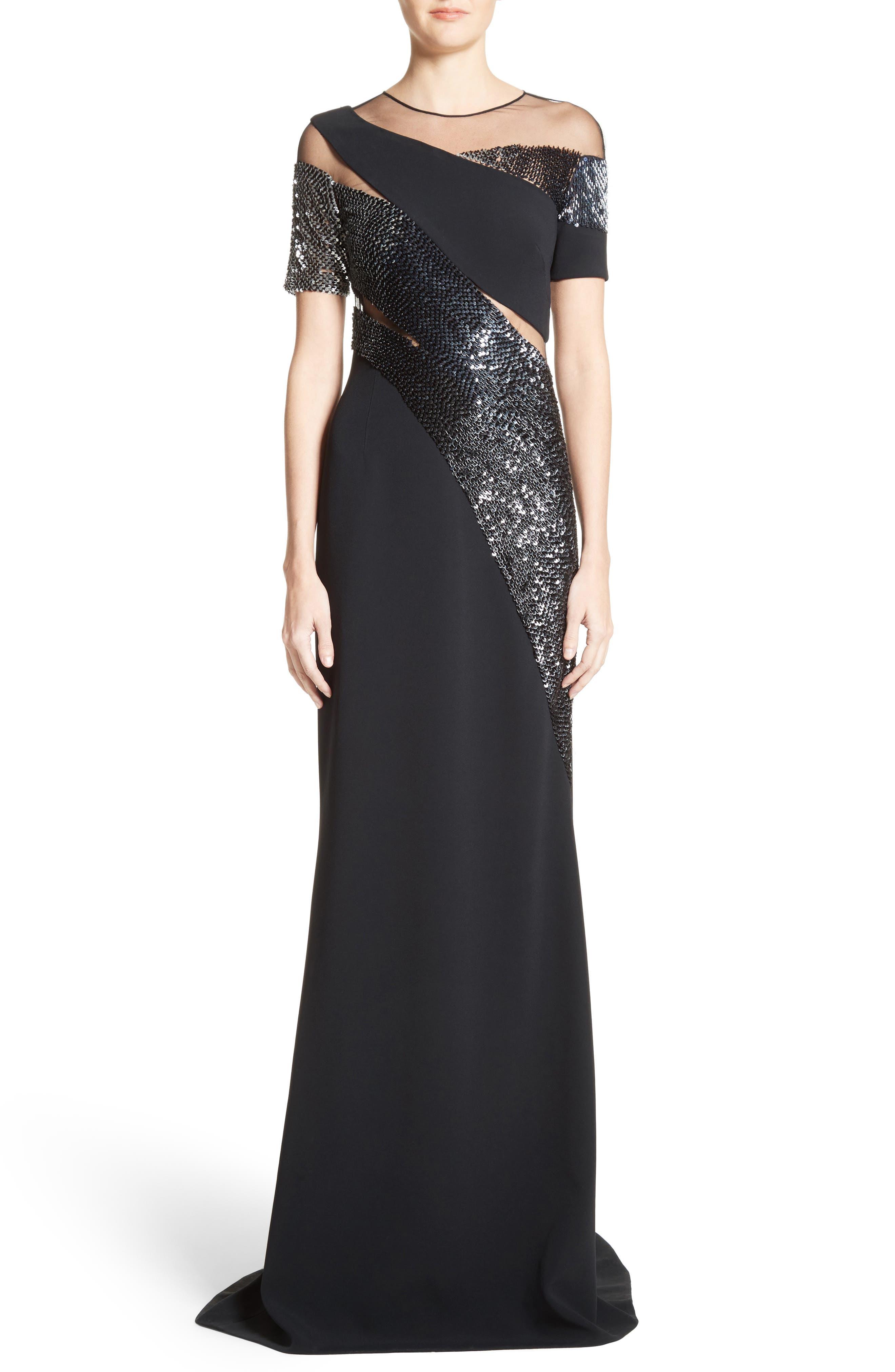 Pamella Roland Sequined Silk Gown