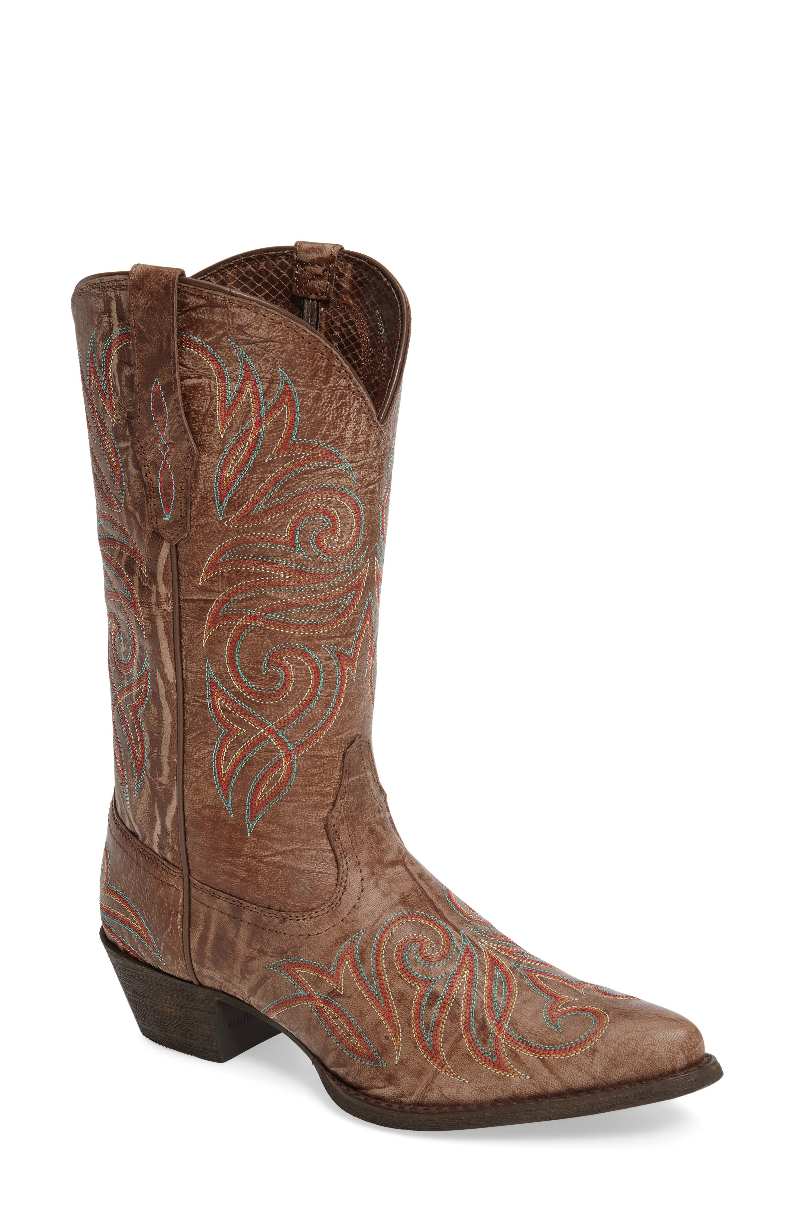 Round Up J-Toe Western Boot,                         Main,                         color, Burnished Brown Leather