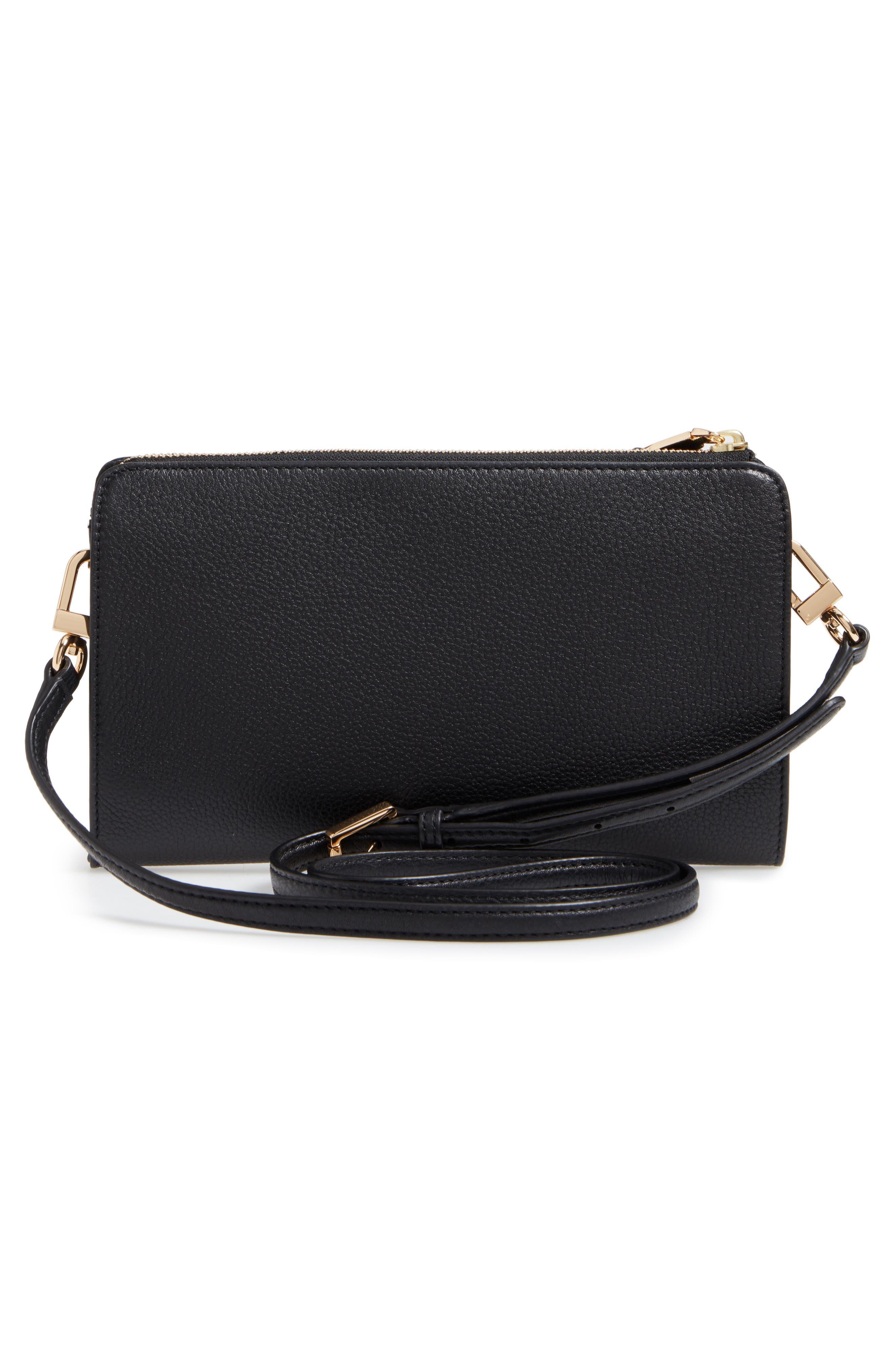 Robinson Leather Wallet/Crossbody Bag,                             Alternate thumbnail 3, color,                             Black