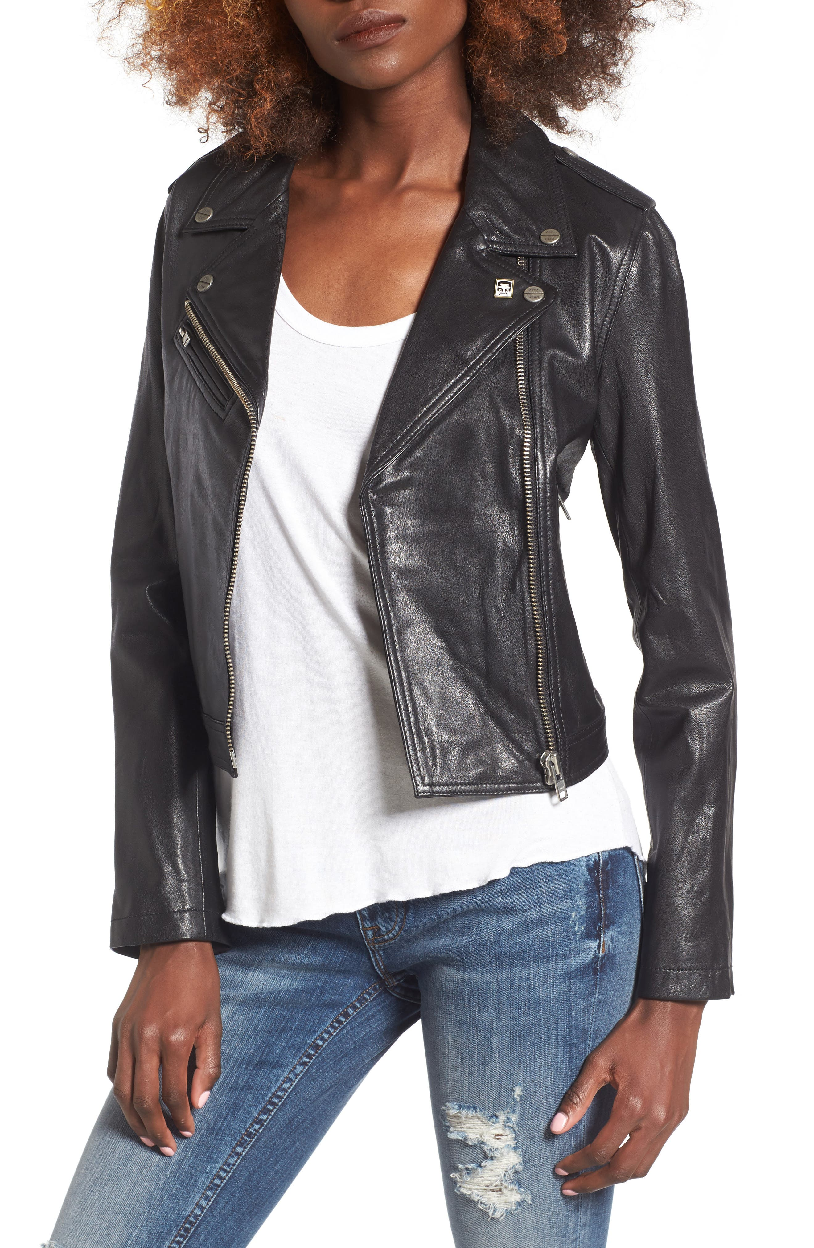 Diablo City Leather Moto Jacket,                             Main thumbnail 1, color,                             Black