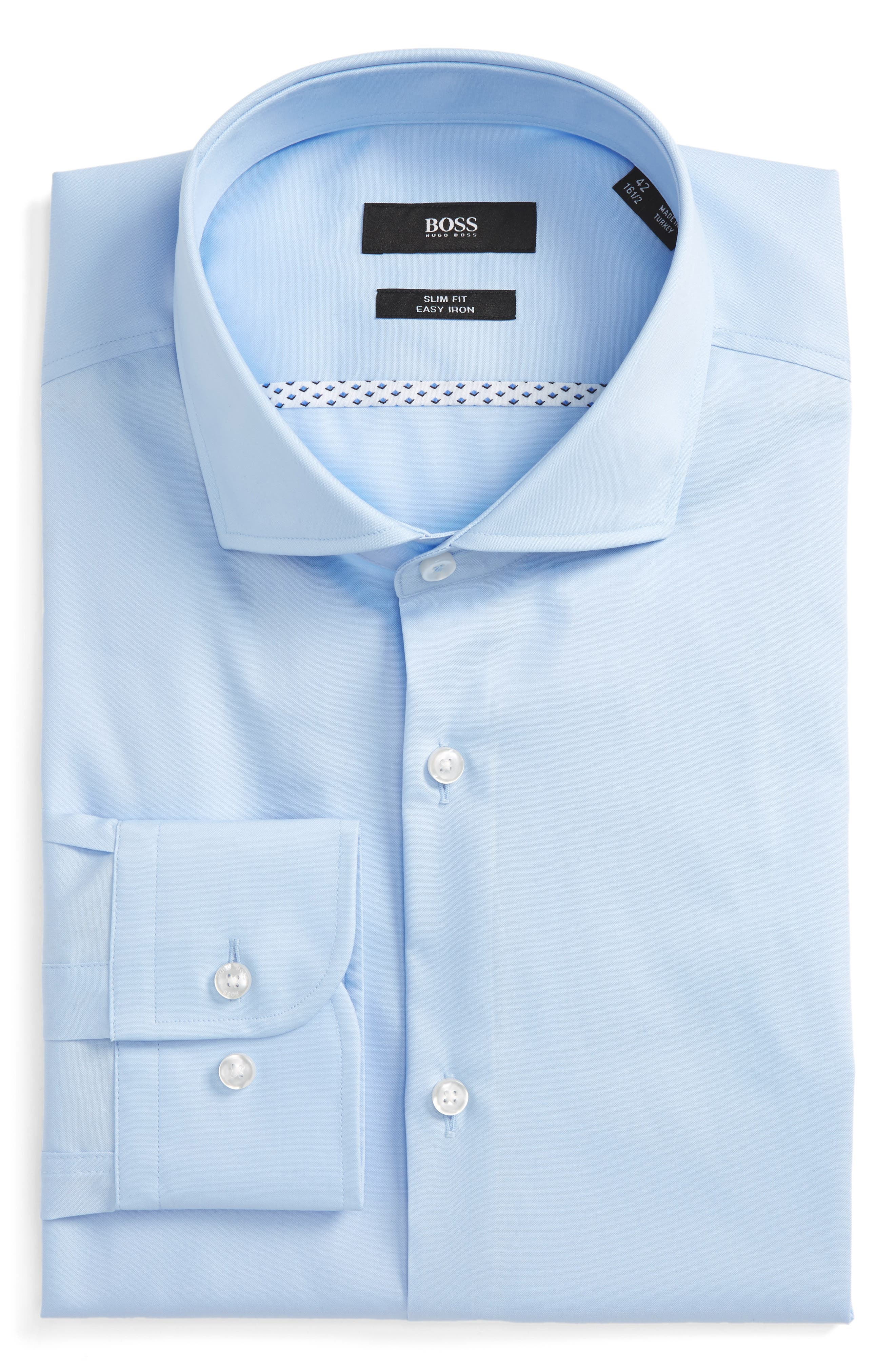 Slim Fit Easy Iron Solid Dress Shirt,                         Main,                         color, Light Pastel Blue