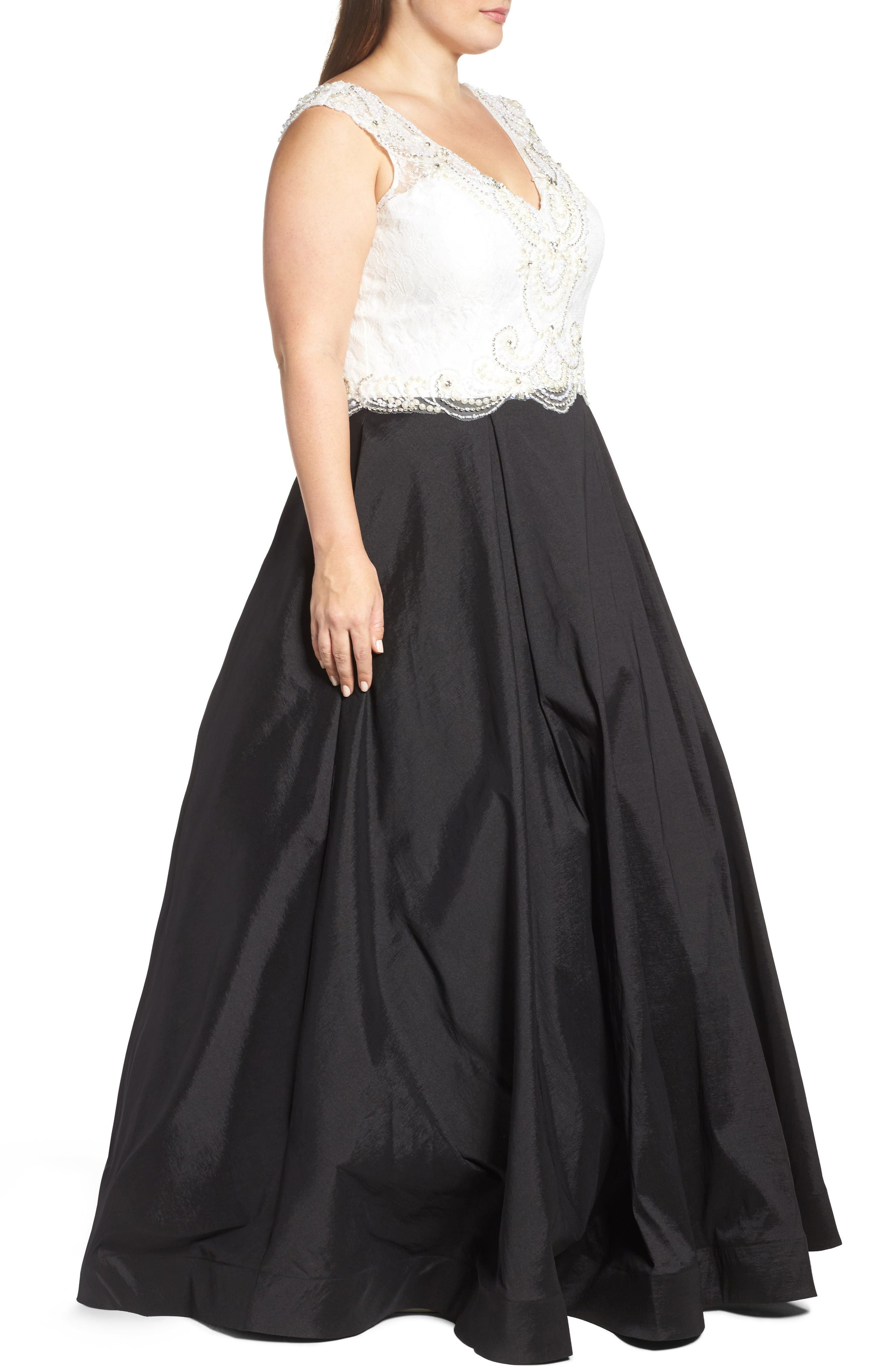 Embellished Lace & Taffeta Ballgown,                             Alternate thumbnail 3, color,                             Black White