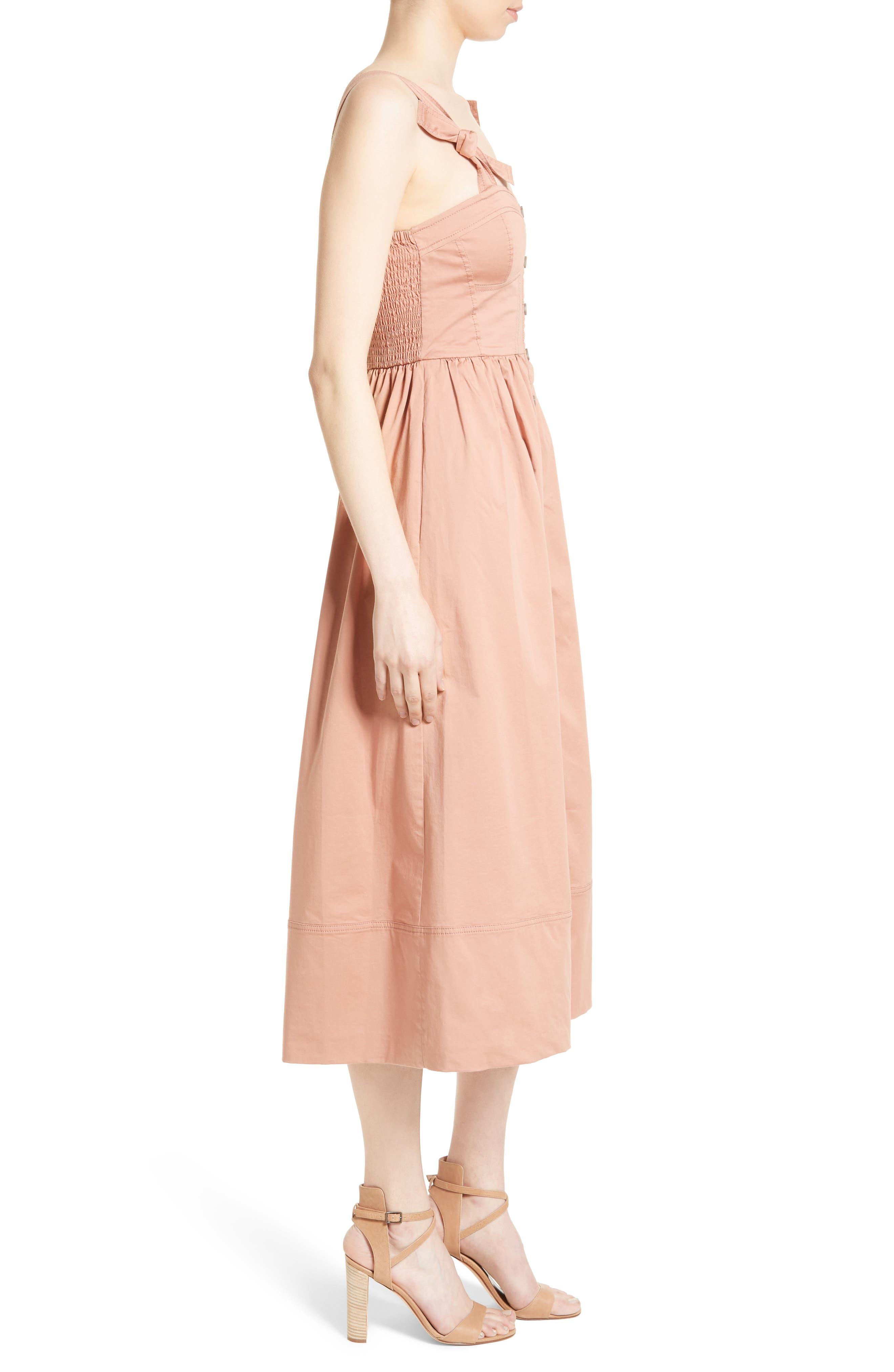 Alternate Image 3  - Rebecca Taylor Stretch Cotton Midi Dress