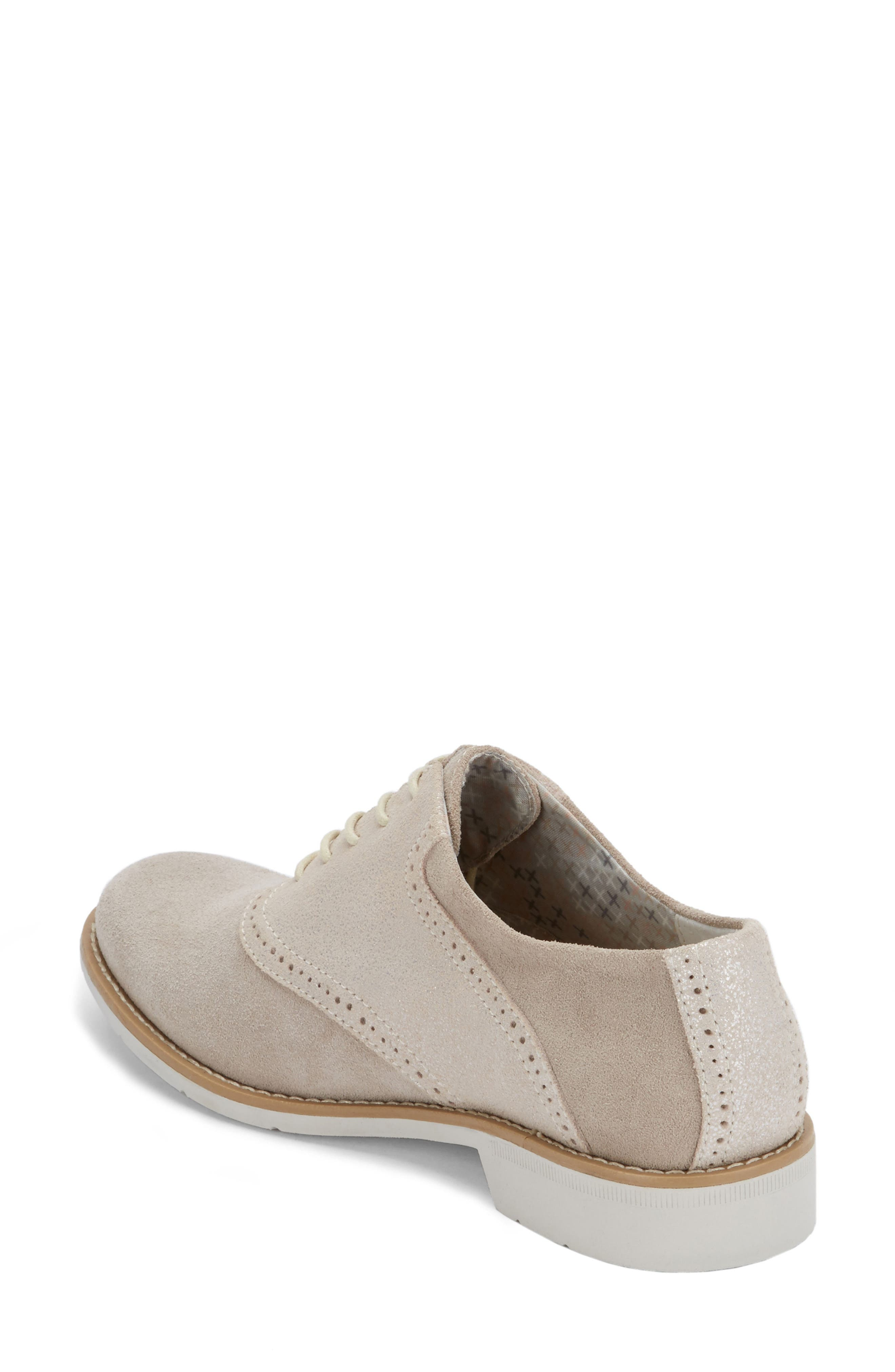 G.H. Bass and Co. Dora Lace-Up Oxford,                             Alternate thumbnail 2, color,                             Soft Grey/ Silver Suede