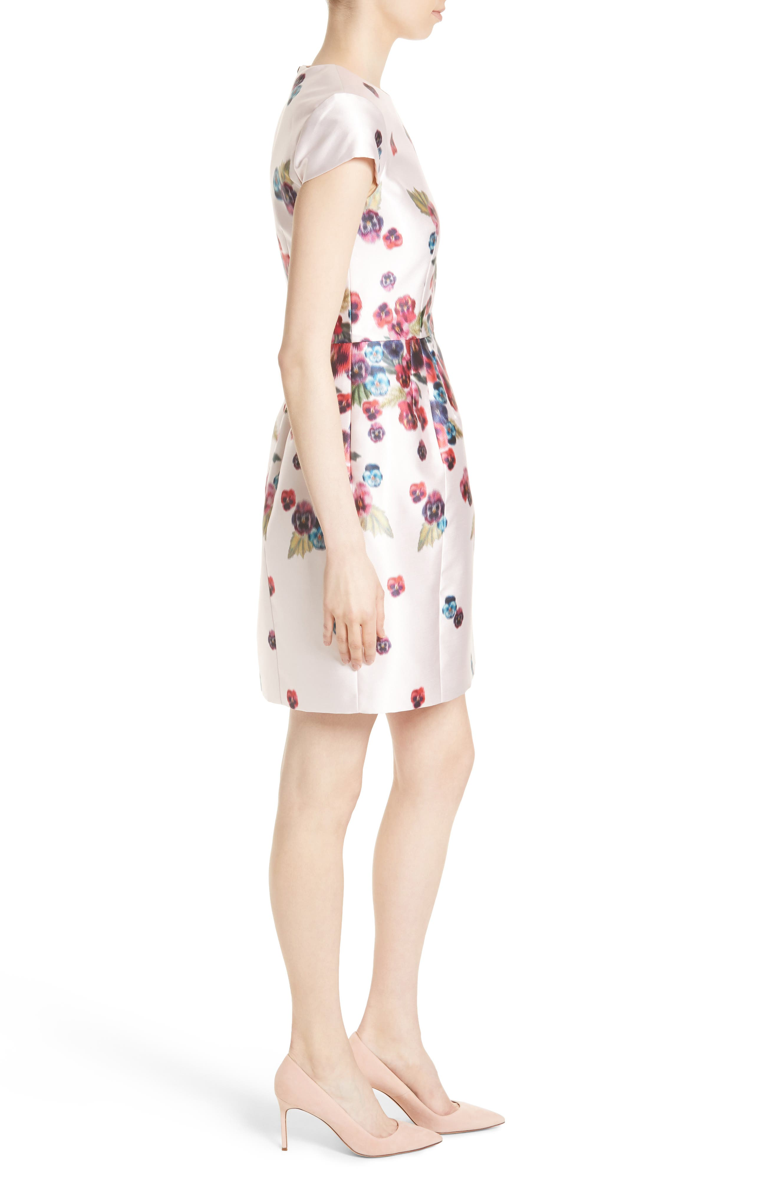 Ibia Floral Print Sheath Dress,                             Alternate thumbnail 3, color,                             Baby Pink