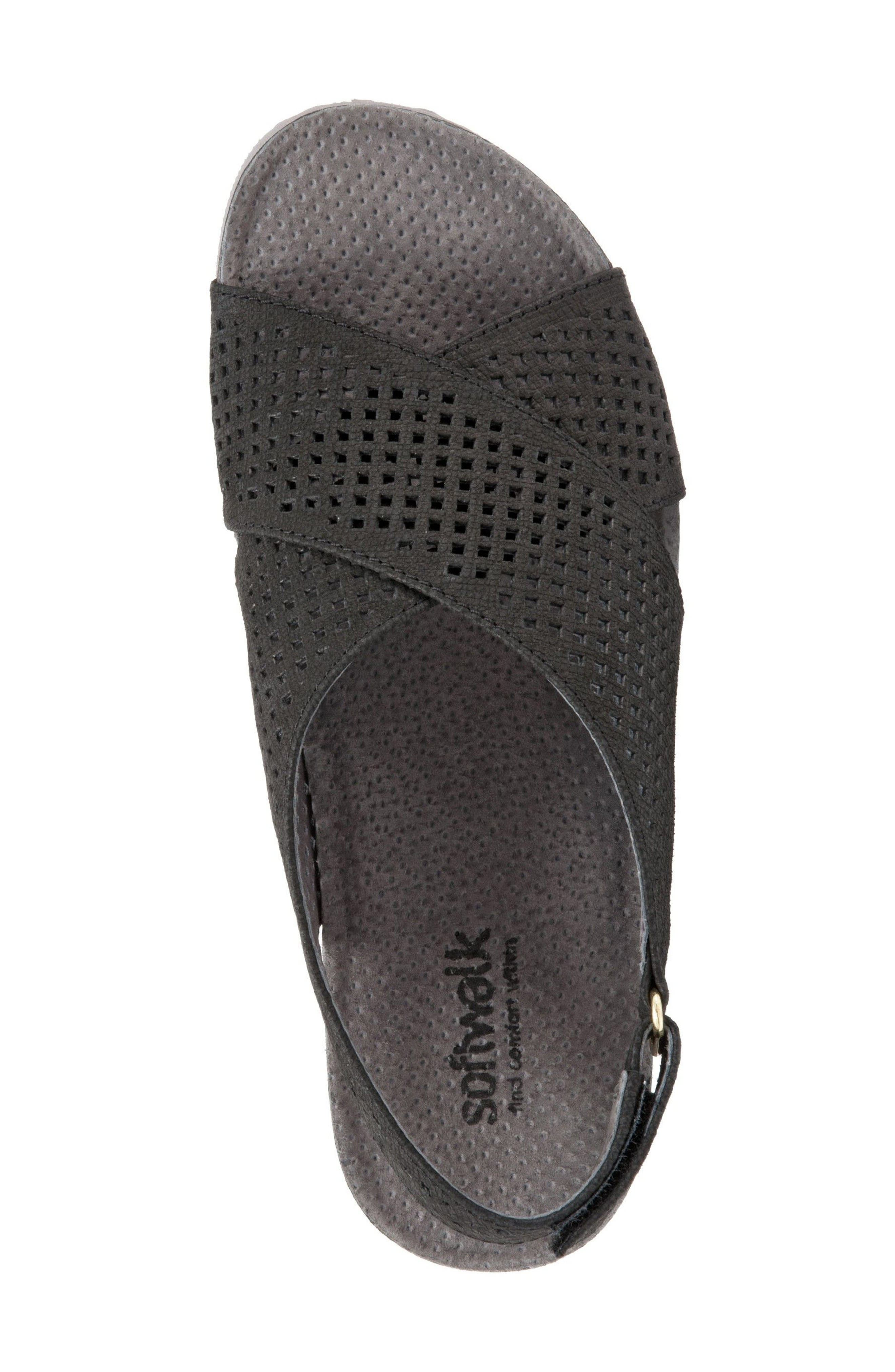 Hansford Wedge Sandal,                             Alternate thumbnail 3, color,                             Black Nubuck Leather