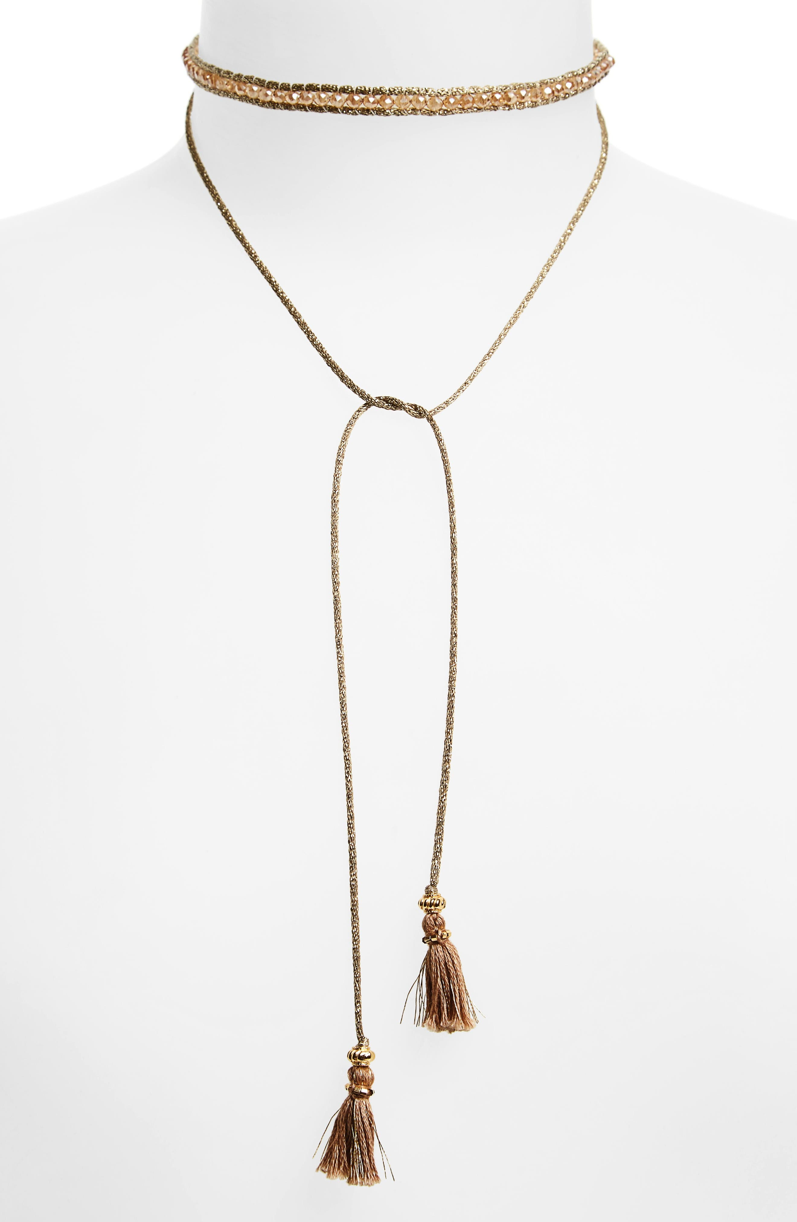 Alternate Image 1 Selected - Chan Luu Sunflower Crystal Lariat Necklace